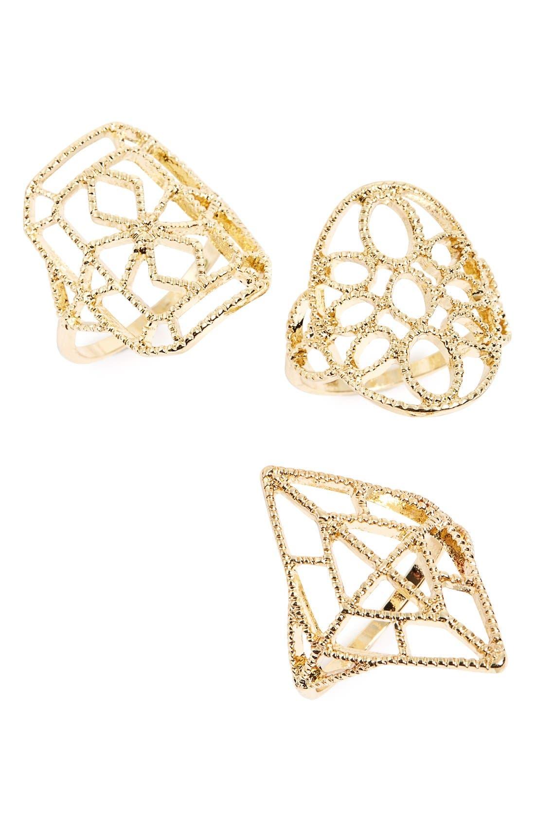 Main Image - Topshop Filigree Cutout Rings (Set of 3)