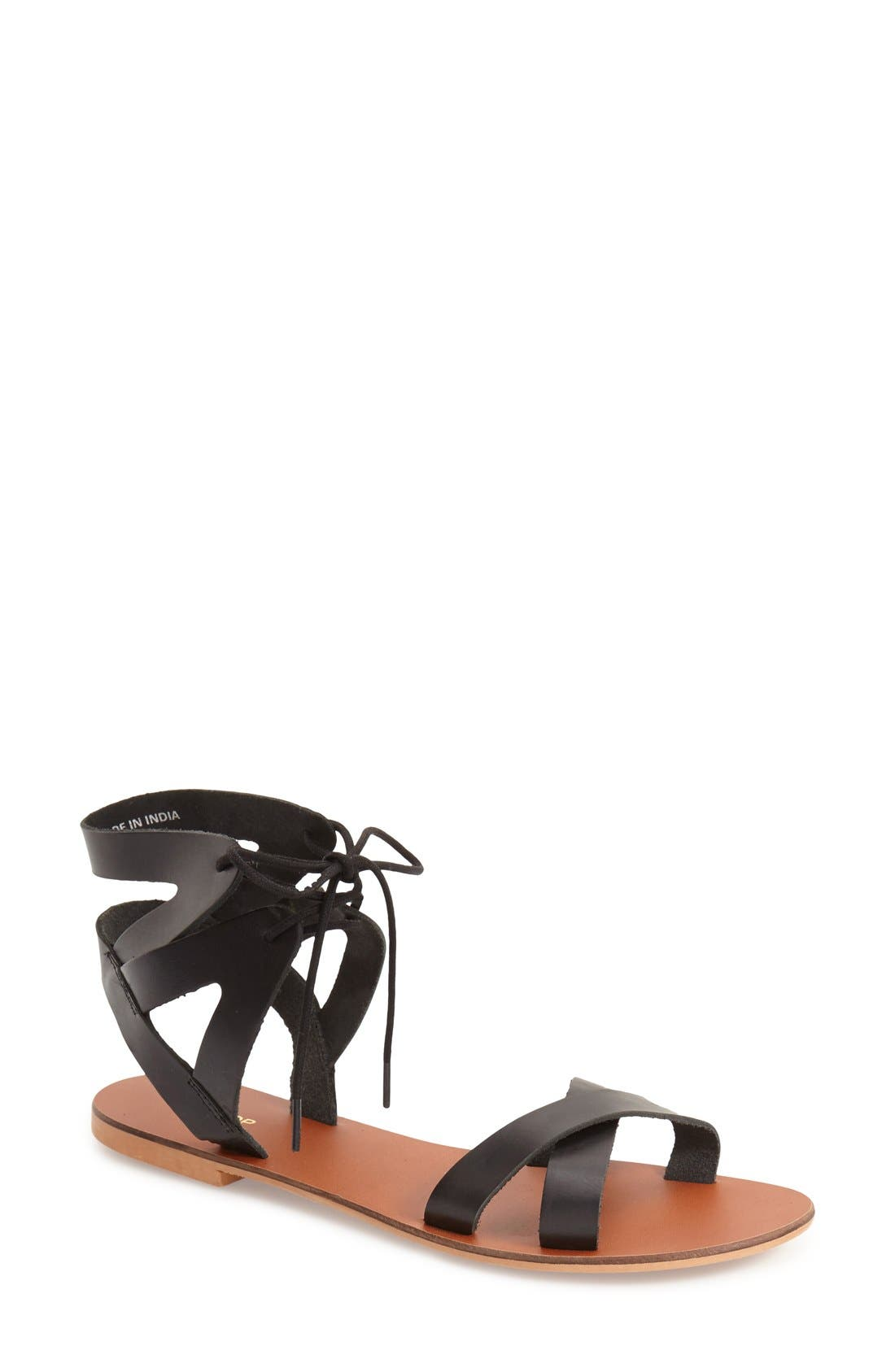 Main Image - Topshop 'Herb' Lace-Up Flat Sandal (Women)