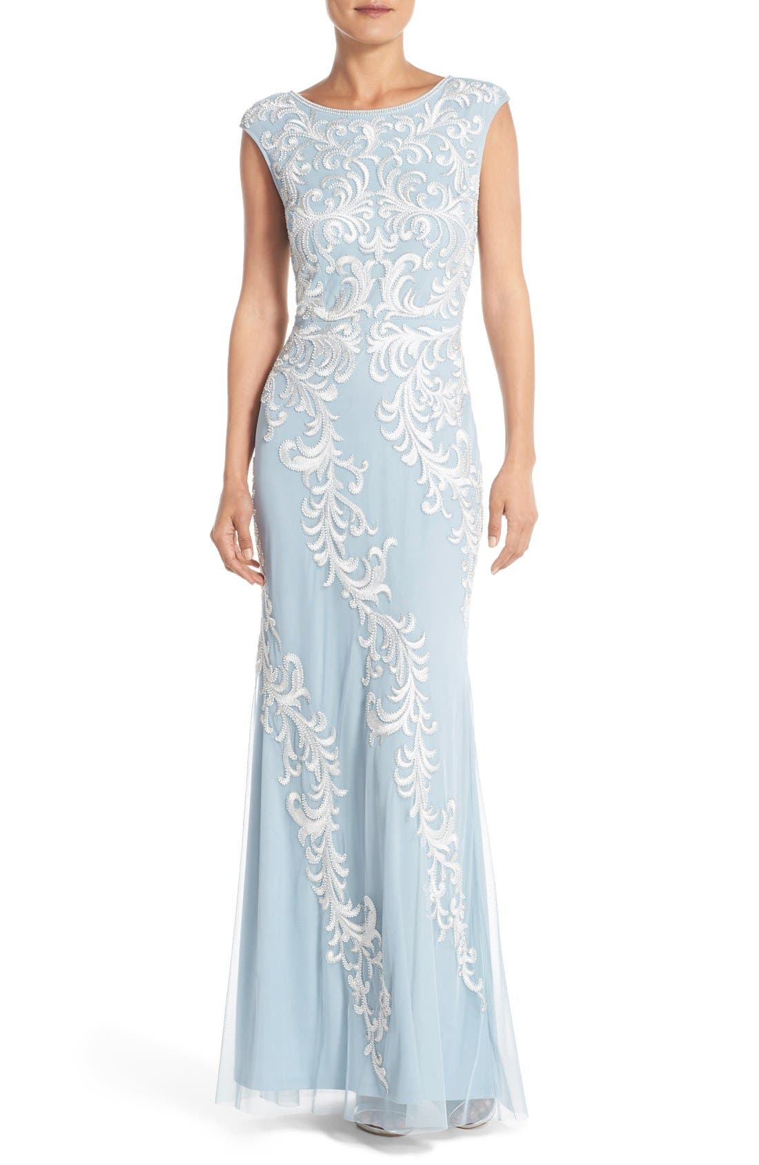 Alternate Image 1 Selected - Aidan Mattox Embroidered Mesh Gown