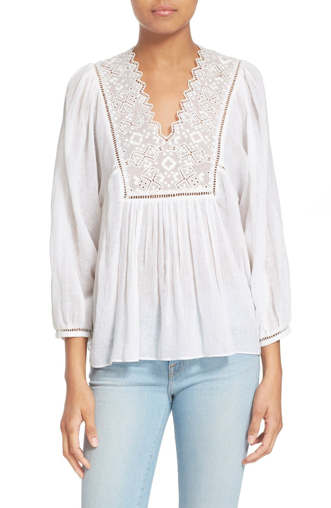 Alternate Image 1 Selected - Rebecca Taylor Lace Trim Woven Peasant Top