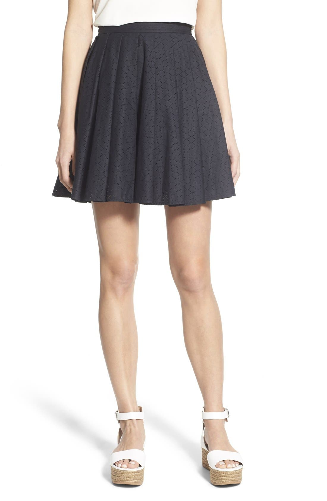 Alternate Image 1 Selected - MICHAEL Michael Kors Pleated Miniskirt