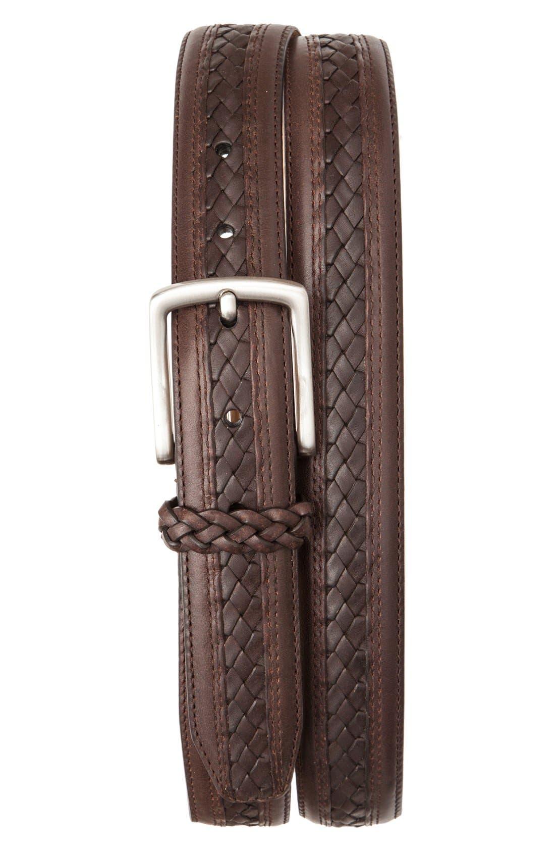 TOMMY BAHAMA Braided Inlay Leather Belt