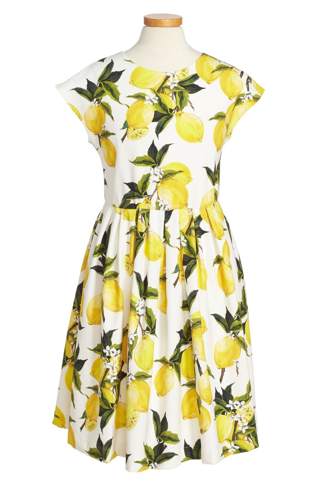 Dolce&Gabbana 'Limoni' Cap Sleeve Dress (Toddler Girls, Little Girls & Big Girls)
