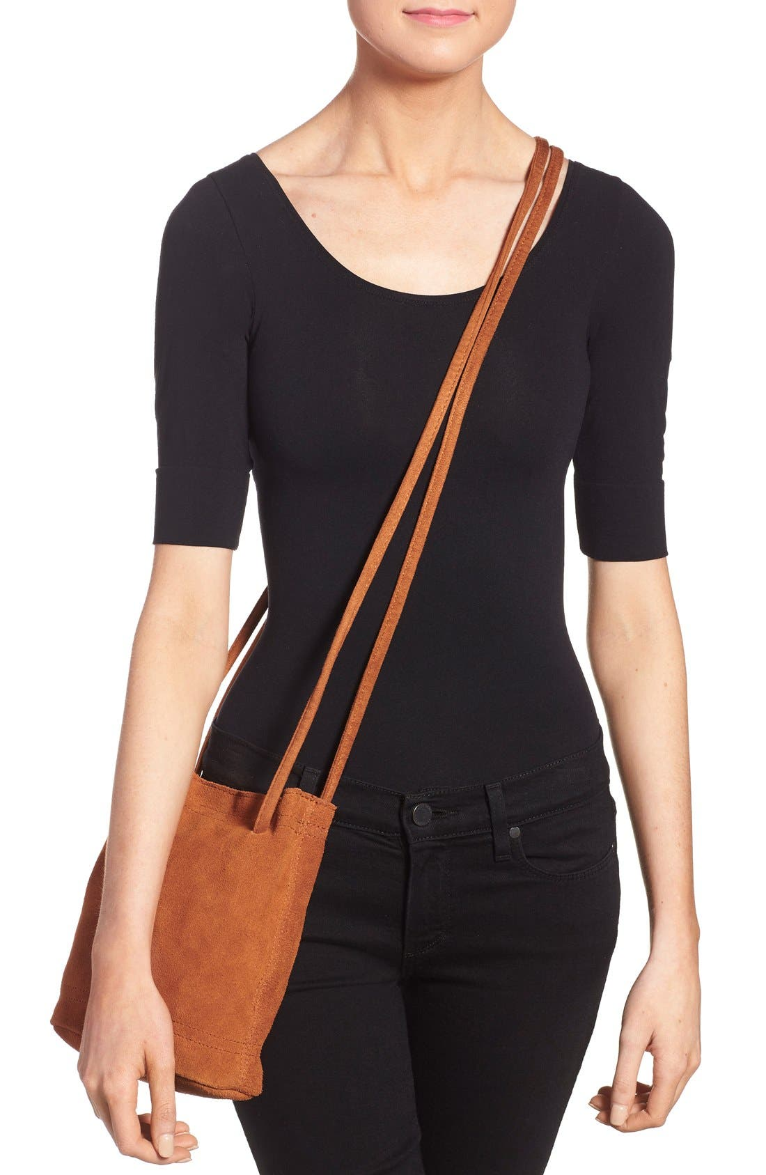 Alternate Image 2  - Street Level Suede Crossbody Bag