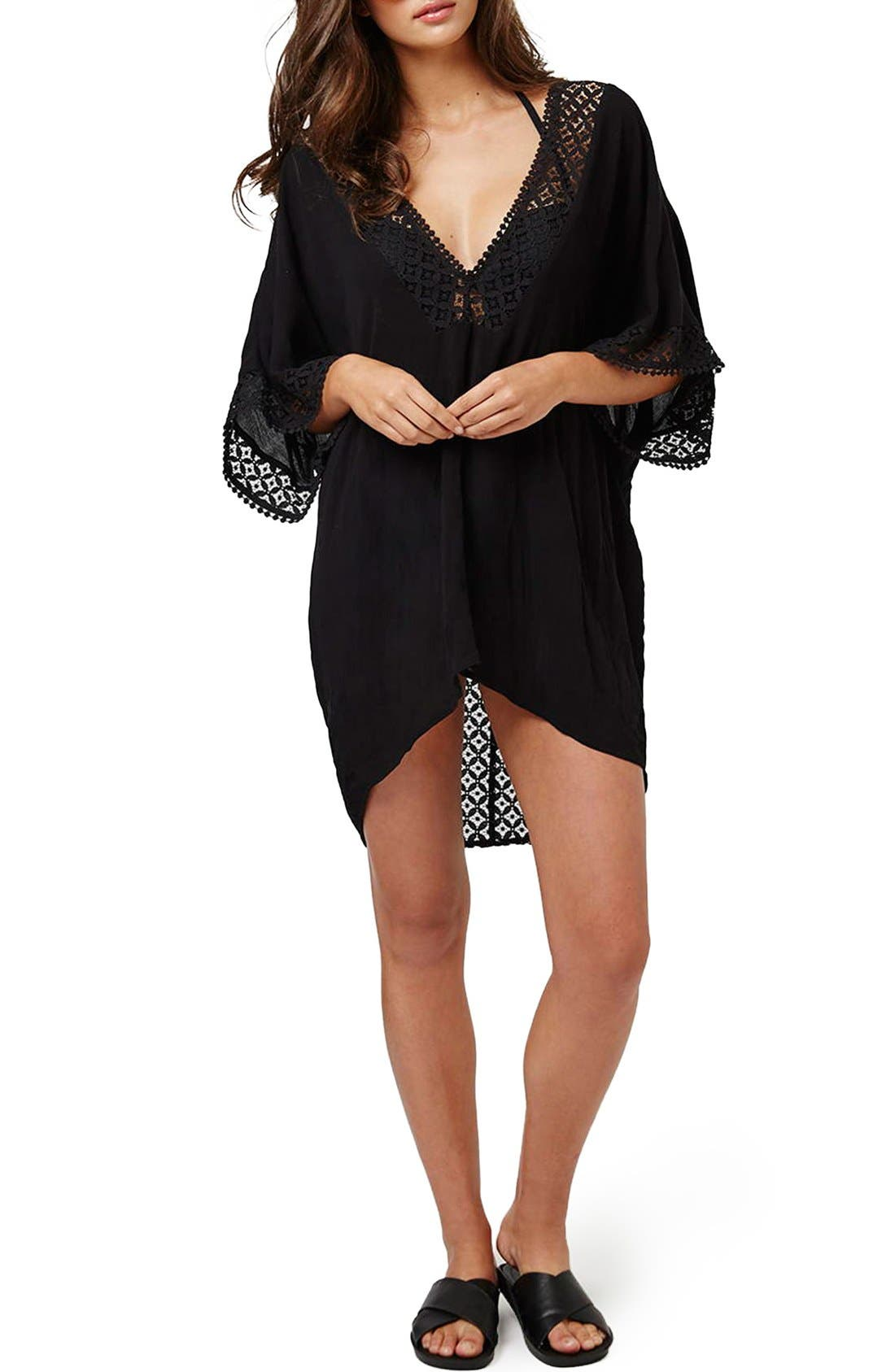 Alternate Image 2  - Topshop Double V-Neck Lace Trim Cover-Up Caftan
