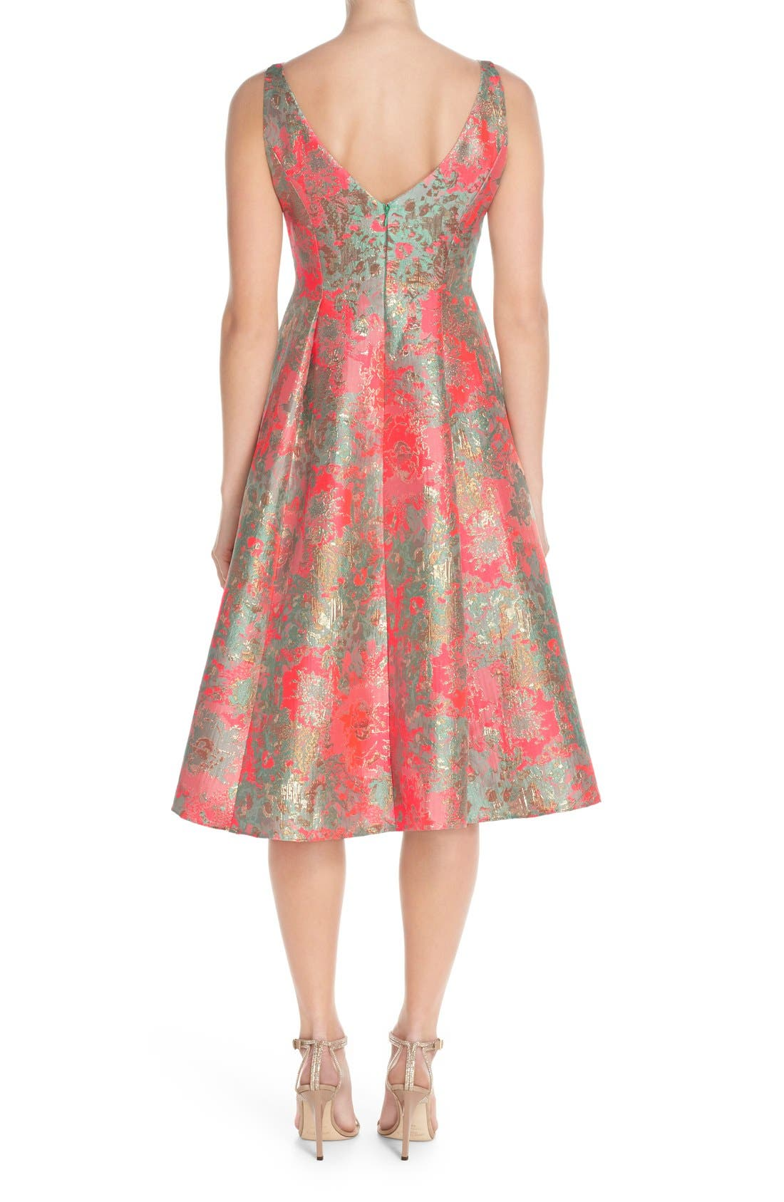 Alternate Image 2  - Adrianna Papell Metallic Jacquard Fit & Flare Dress