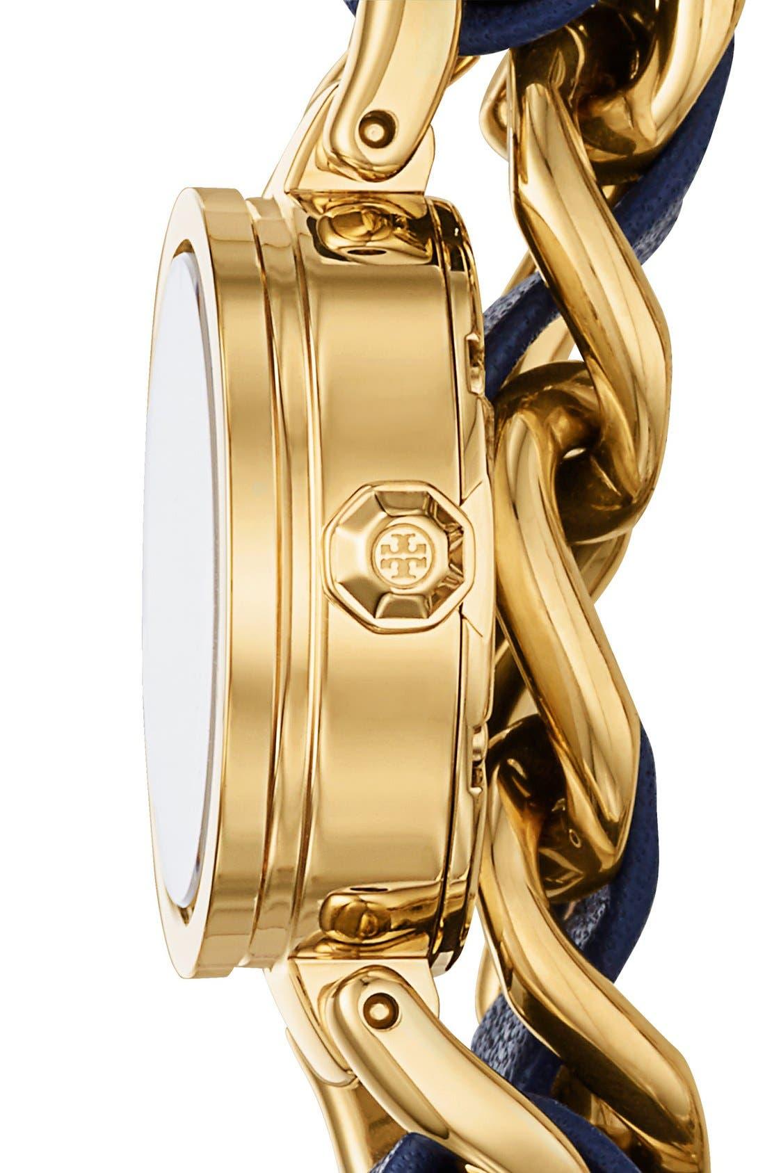 Alternate Image 2  - Tory Burch 'Mini Reva' Double Wrap Chain Watch, 20mm