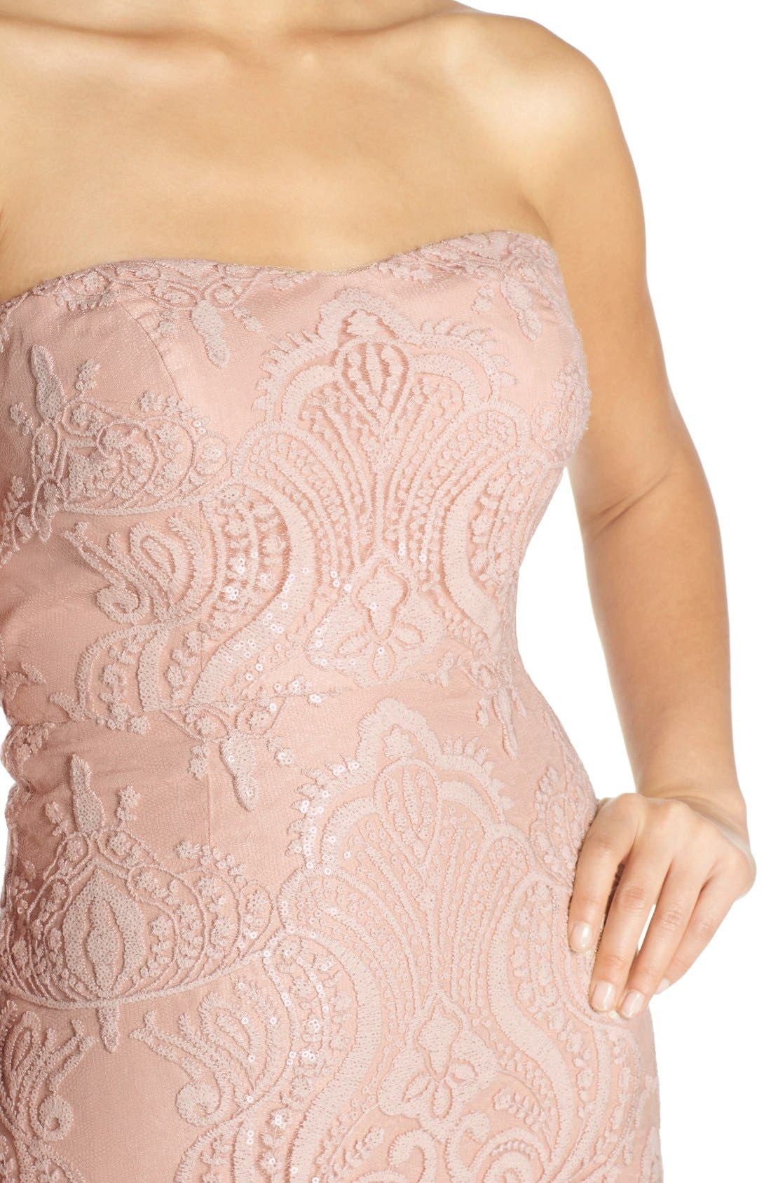 Alternate Image 4  - Jenny Yoo 'Sadie' Sequin Lace Strapless A-Line Gown