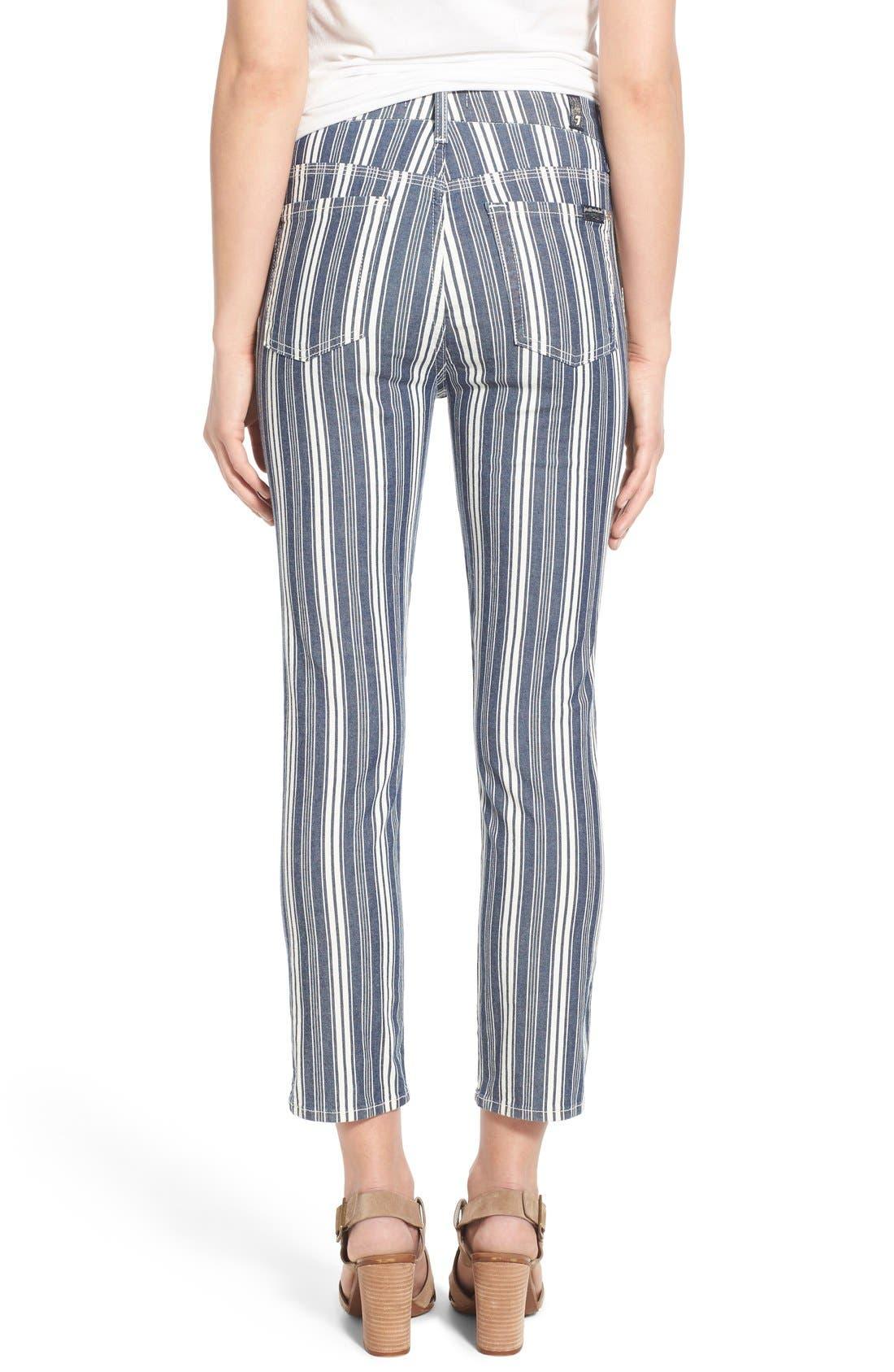 Alternate Image 2  - 7 For All Mankind® Ankle Straight Leg Jeans (Indigo Stripe)