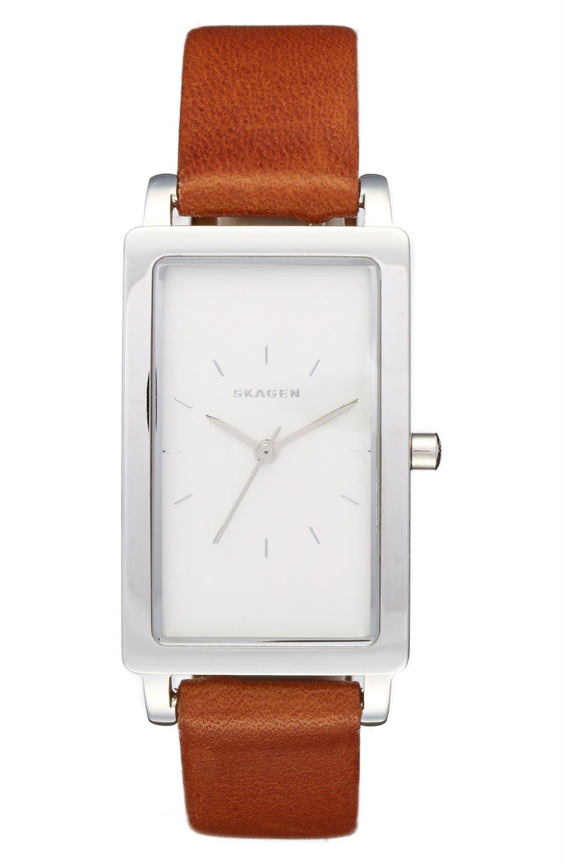 Alternate Image 1 Selected - Skagen 'Hagen' Leather Strap Watch, 22mm x 43mm