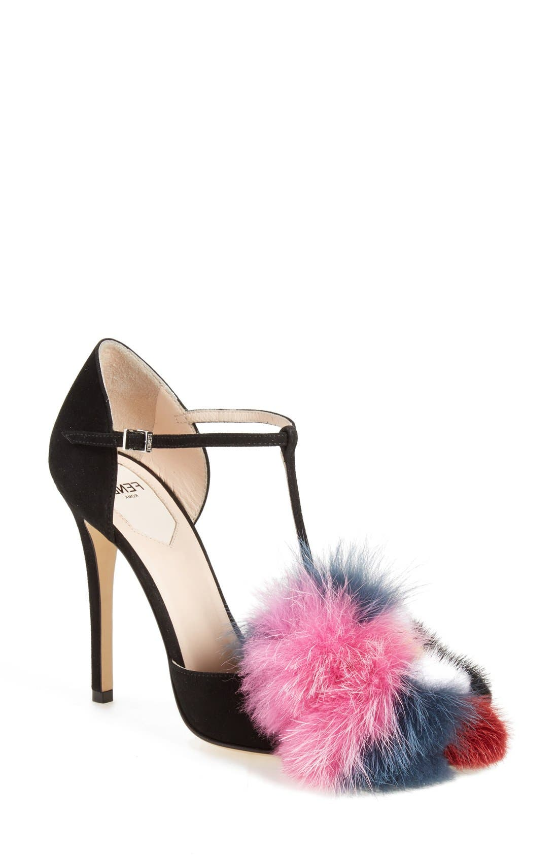 Main Image - Fendi 'Flowerland' Genuine Mink & Fux Fur Trim Sandal (Women)