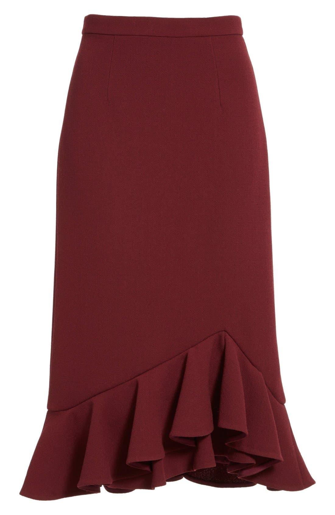 Alternate Image 4  - Erdem 'Joss' Wool Crepe Asymmetric Ruffle Hem Skirt