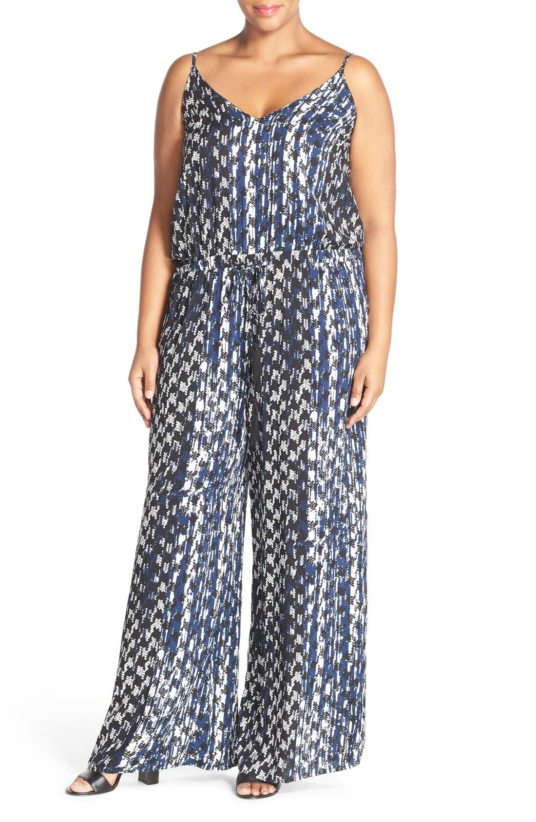 Alternate Image 1 Selected - City Chic 'Barbed' Print V-Neck Jumpsuit (Plus Size)