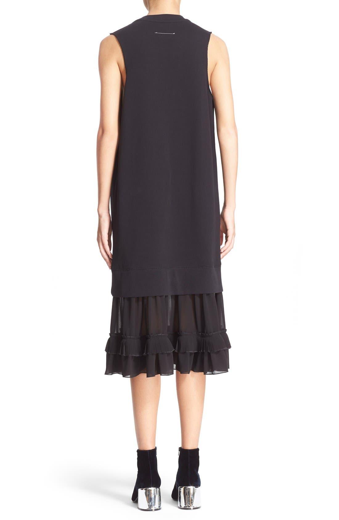 Alternate Image 2  - MM6 Maison Margiela Chiffon Hem Sweatshirt Dress