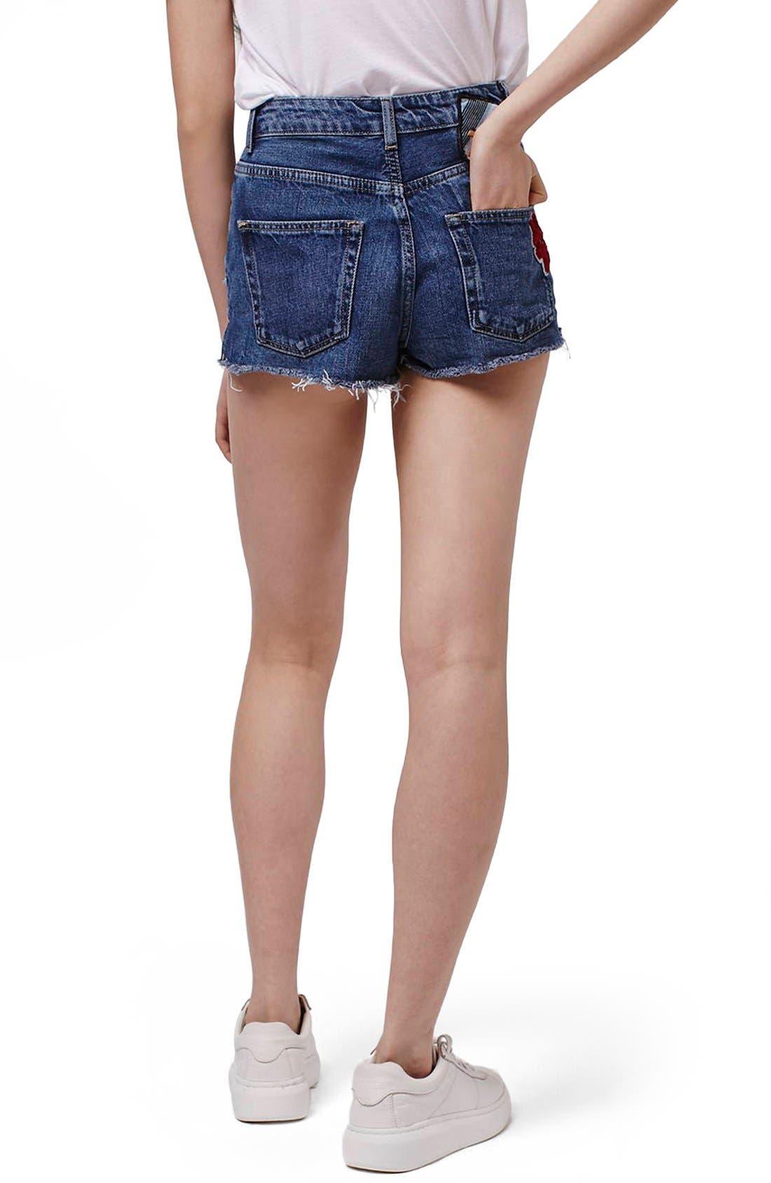 Alternate Image 3  - Topshop Patch Raw Hem High Rise Jean Shorts (Petite)
