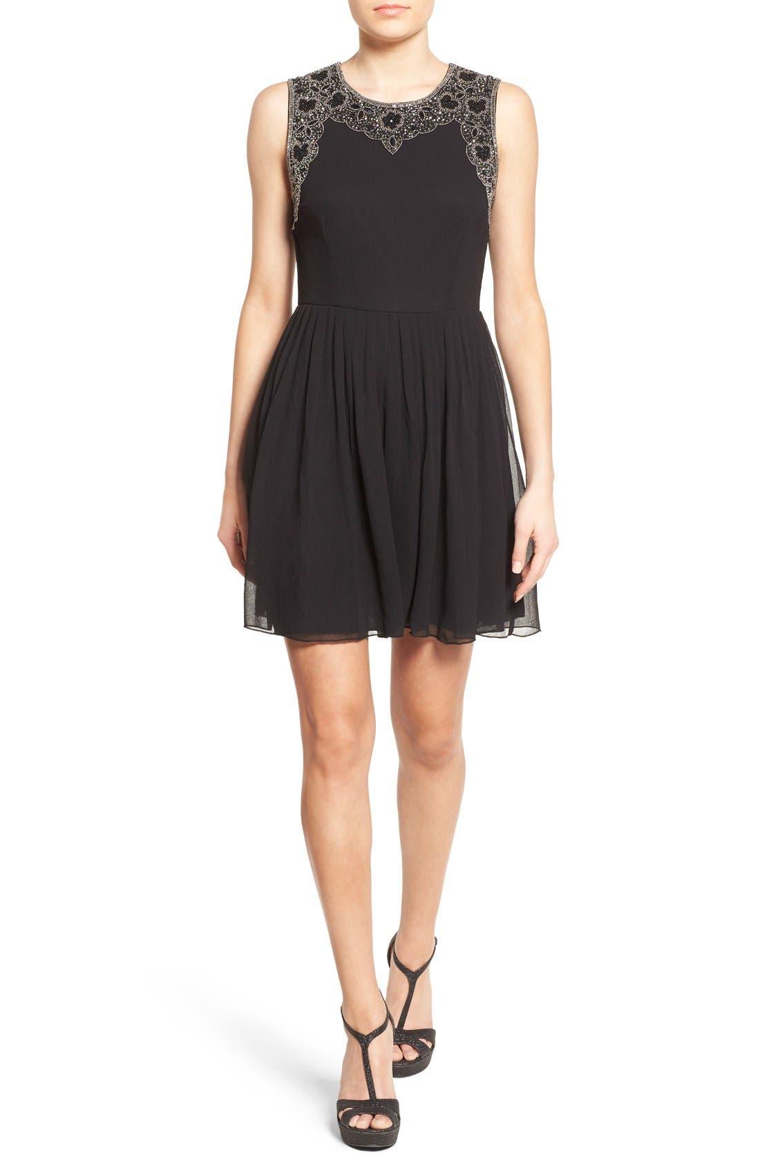 Main Image - Lace & Beads 'Becky' Embellished Skater Dress