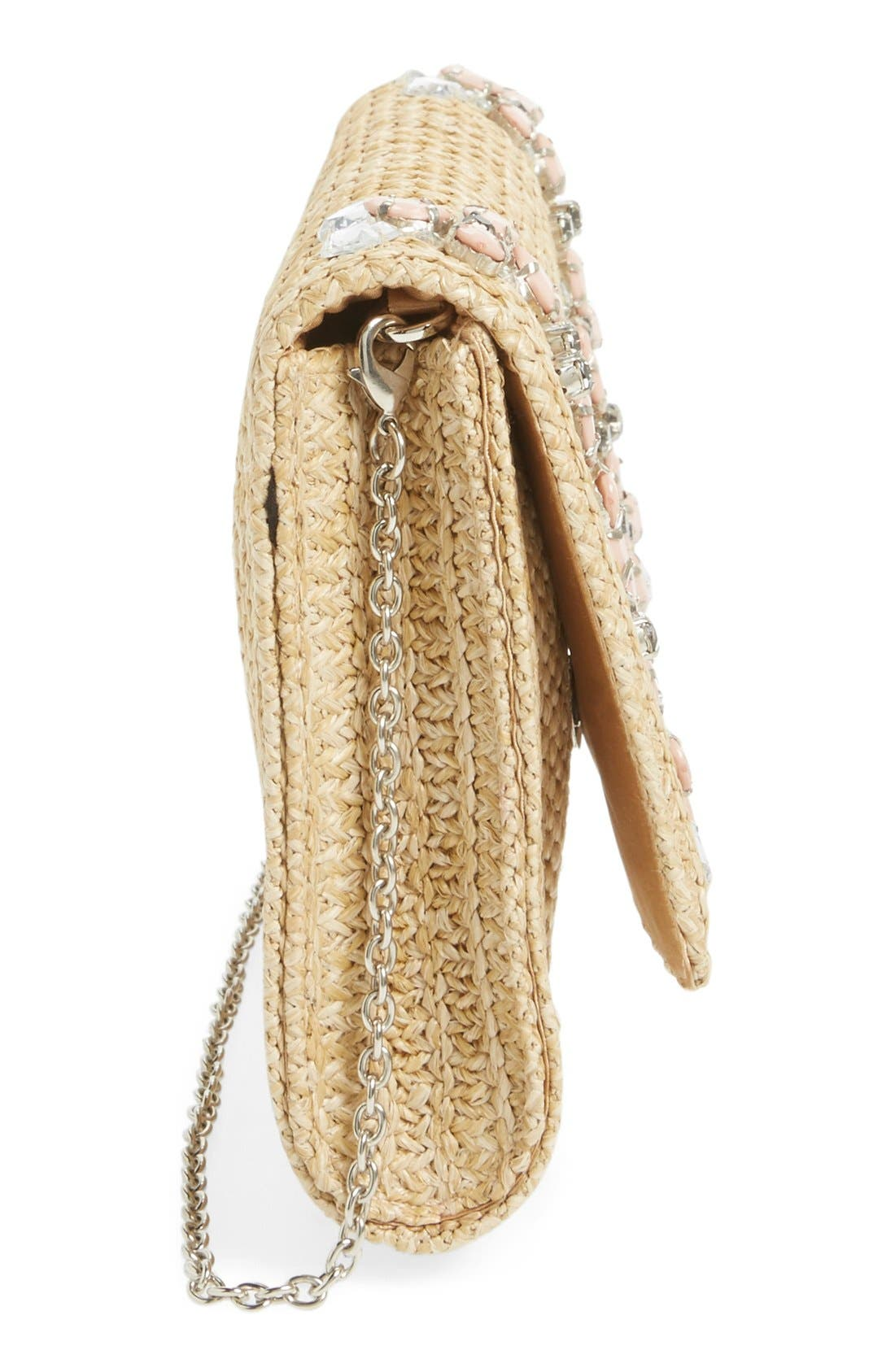 Alternate Image 5  - Glint Embellished Straw Clutch