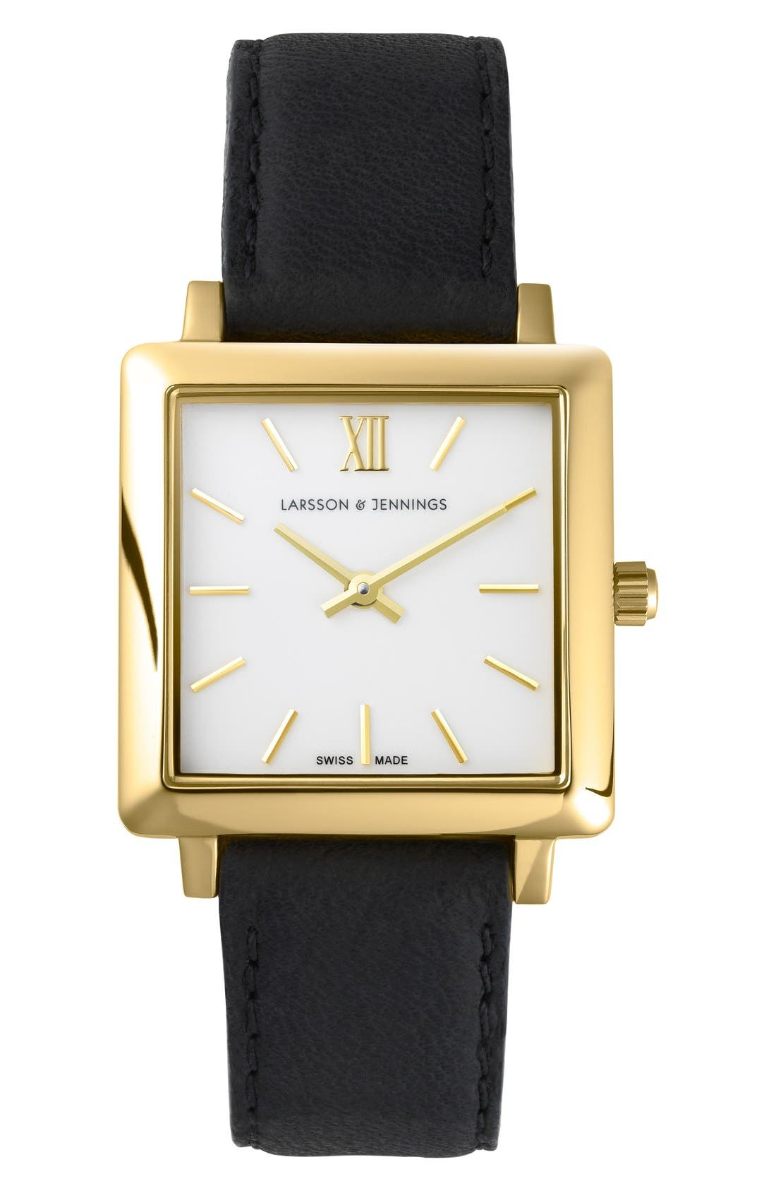 LARSSON & JENNINGS 'Norse' Square Leather Strap Watch,