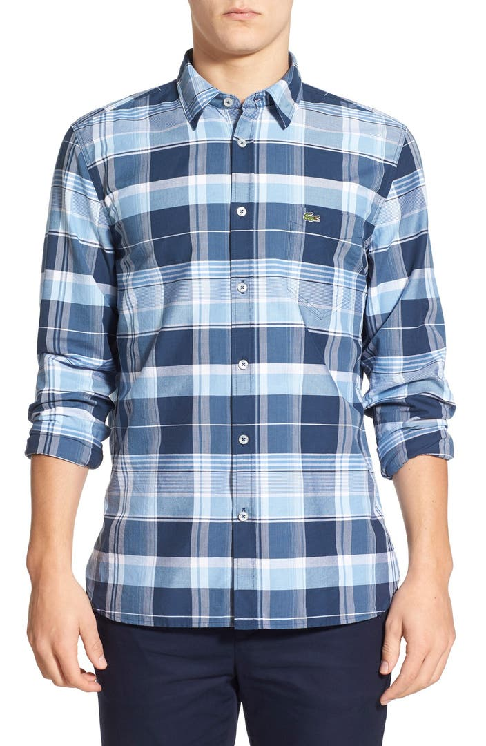 Lacoste regular fit check long sleeve poplin shirt nordstrom for Long sleeve poplin shirt