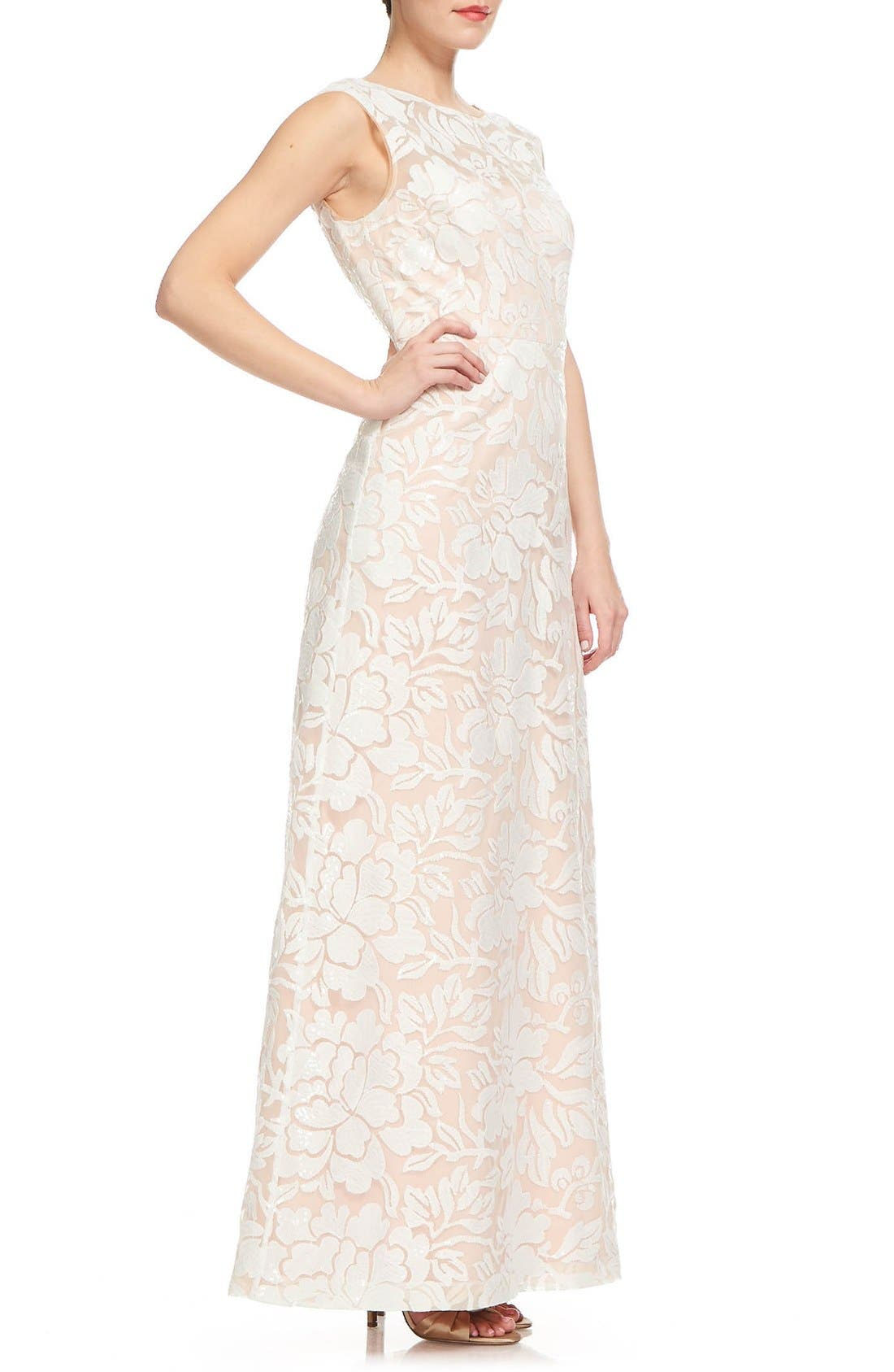 Main Image - Kay Unger Illusion Embroidered Gown