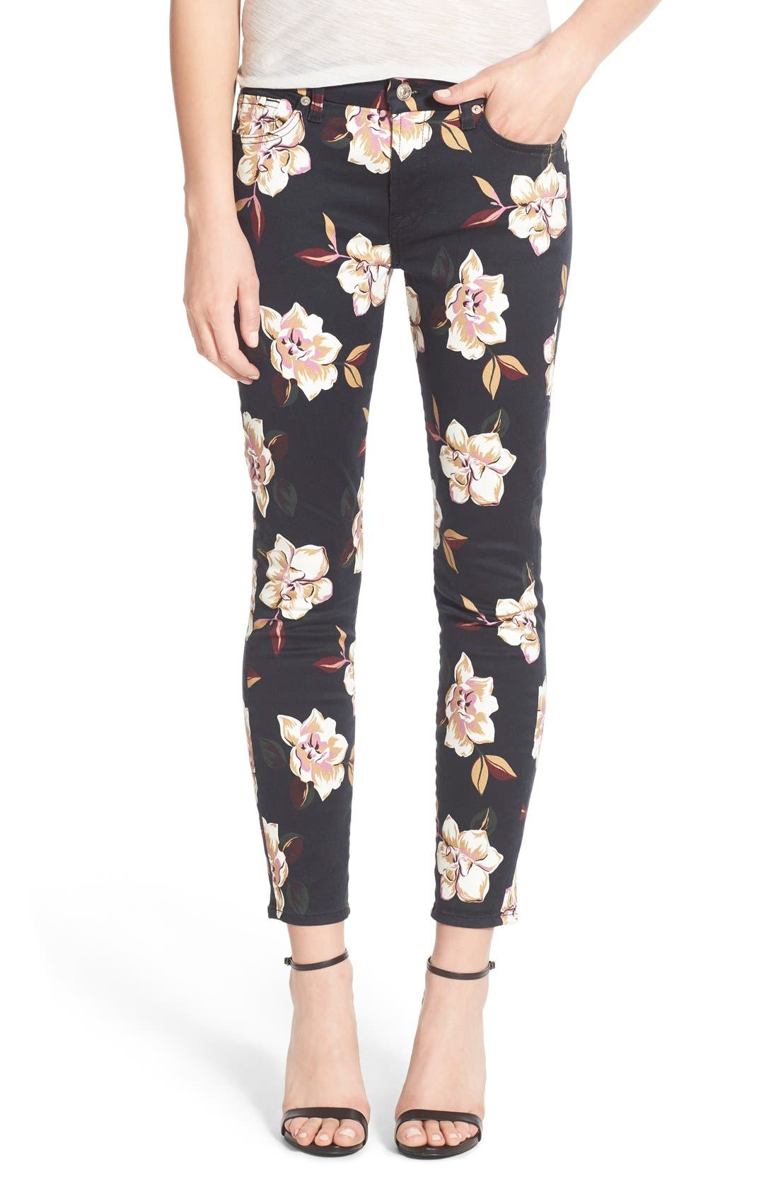 Main Image - 7 For All Mankind® Print Ankle Skinny Jeans (Calypso Floral)