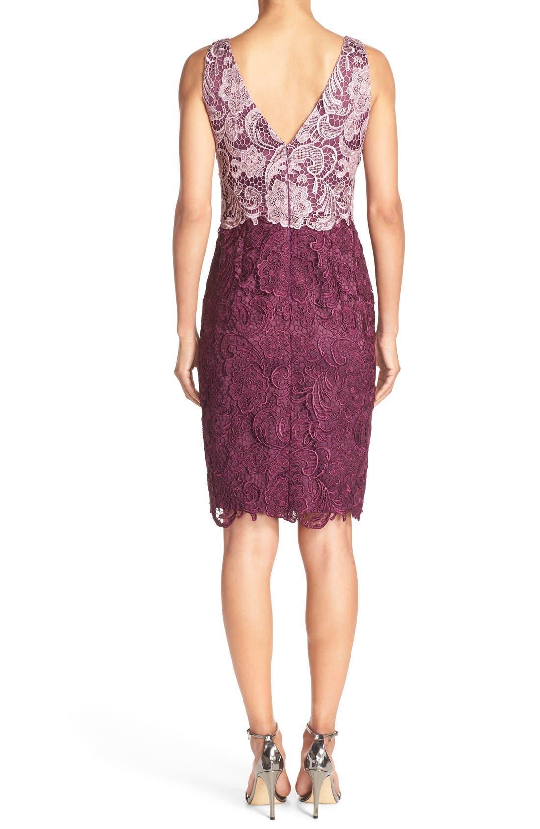 Alternate Image 2  - Adrianna Papell Colorblock Floral Lace Sheath Dress (Regular & Petite)