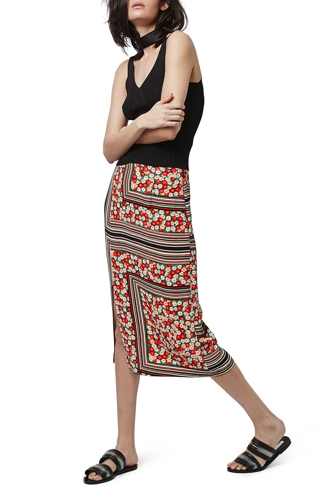 Alternate Image 2  - Topshop Floral Stripe Midi Skirt
