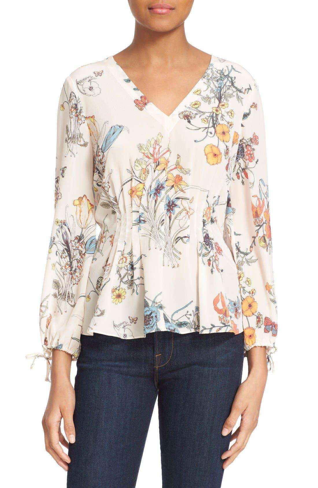 Rebecca Taylor 'Meadow Floral' Print Silk Pleat Waist Top