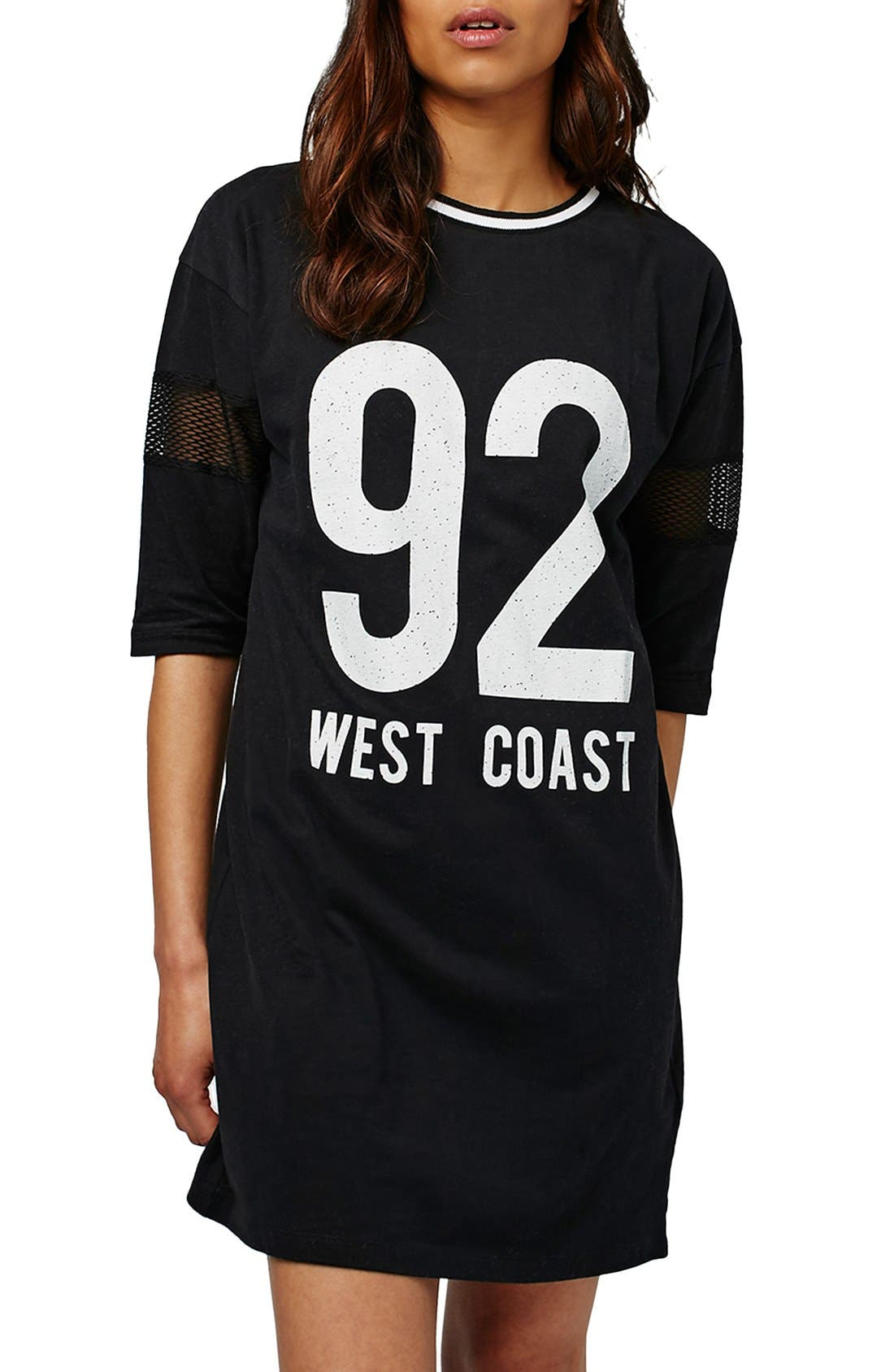 Alternate Image 1 Selected - Topshop 'West Coast' Jersey T-Shirt Minidress