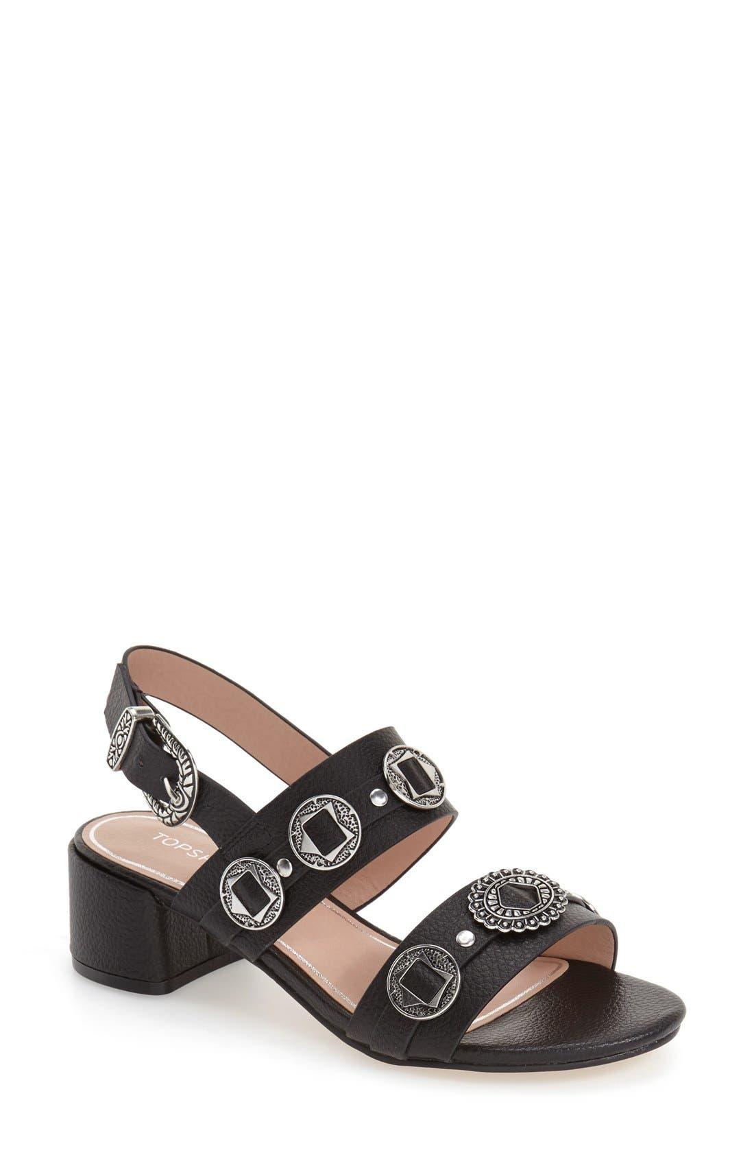 Main Image - Topshop 'Dandy' Block Heel Sandal (Women)