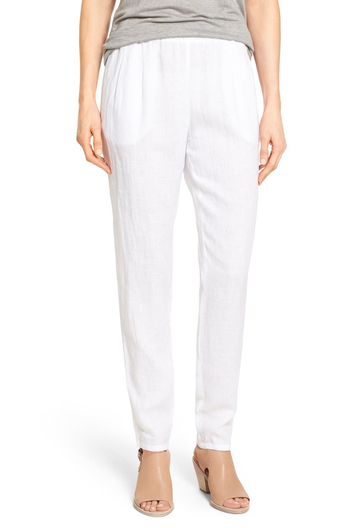 Eileen Fisher Organic Linen Slouchy Pants (Regular & Petite)
