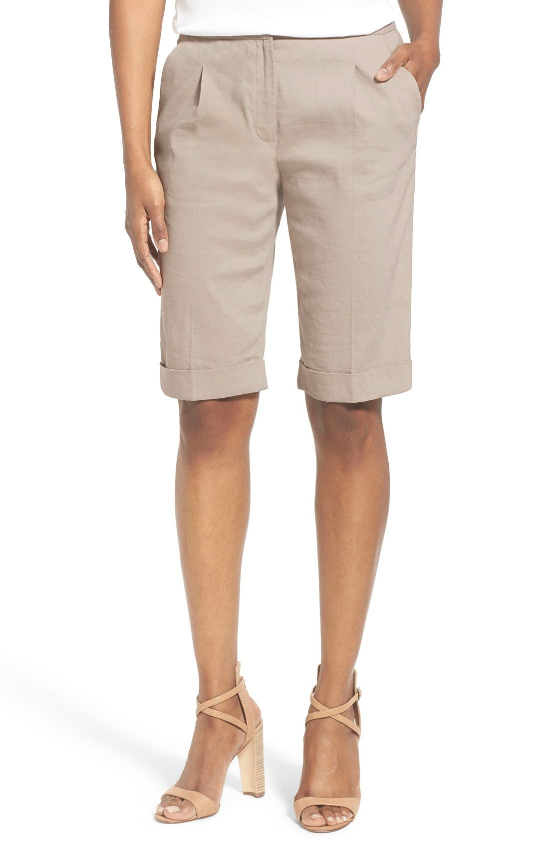Main Image - Elie Tahari 'City' Cuff Linen Blend Walking Shorts