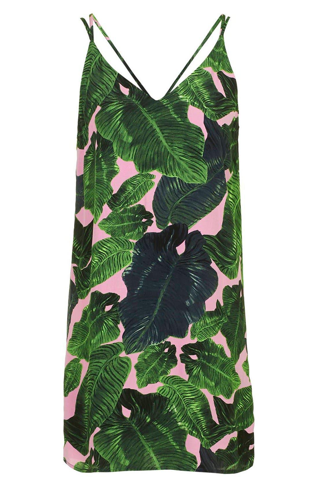Alternate Image 4  - Topshop Palm Print Cross Back Slipdress