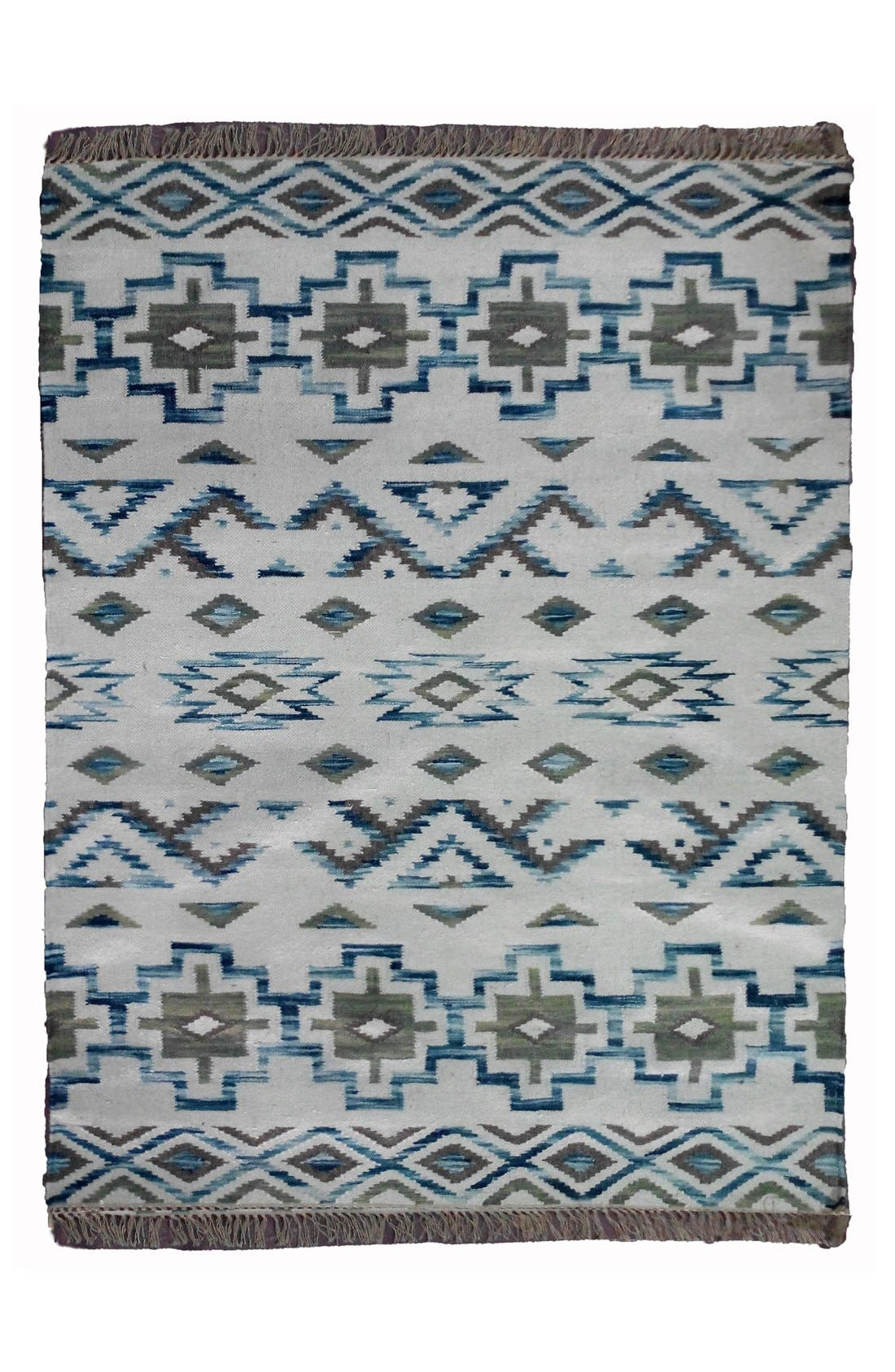 AM HOME TEXTILES Geometric Handwoven Wool Rug