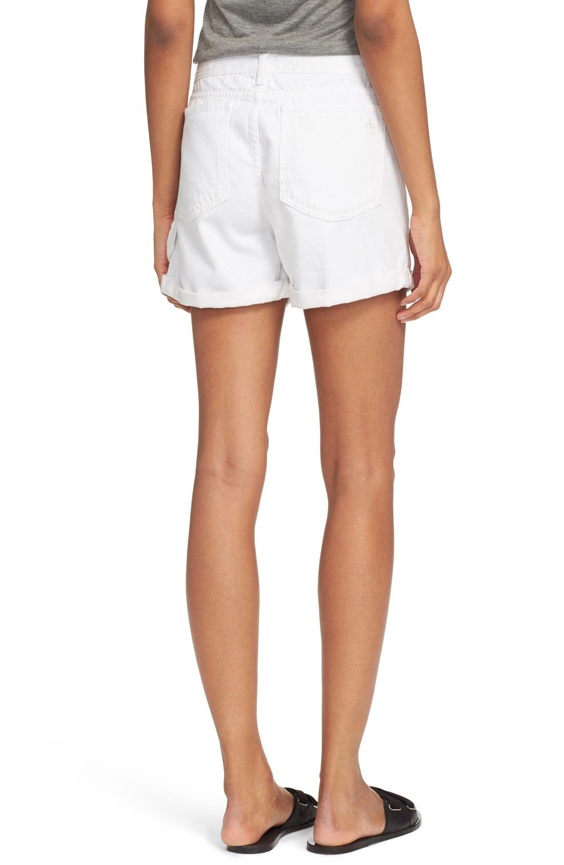 Alternate Image 2  - rag & bone/JEAN 'Carpenter' Cuffed Denim Shorts (Aged Bright White)