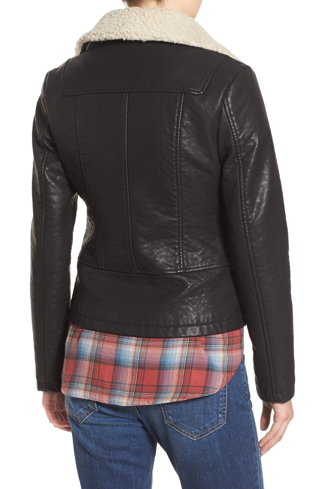 Alternate Image 2  - Steve Madden Faux Leather Moto Jacket with Faux Shearling Collar
