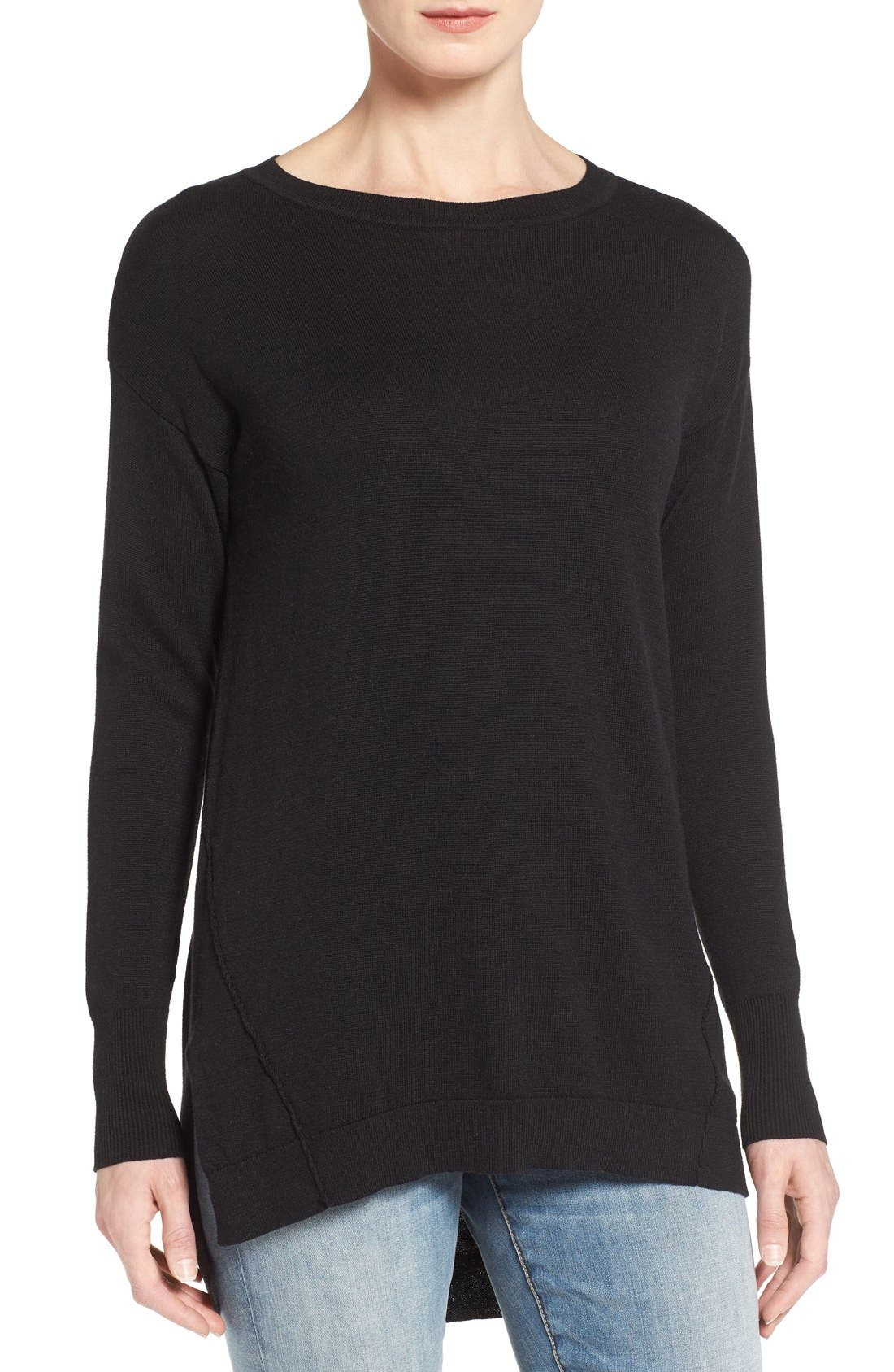 Caslon® Zip Back High/Low Tunic Sweater (Regular & Petite)