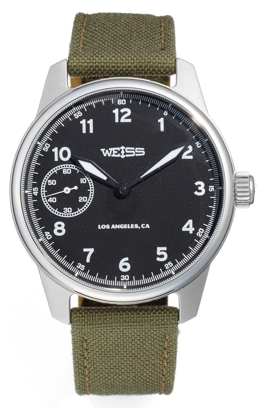 Weiss Watch Company 'Standard Issue' Nylon Strap Watch, 42mm