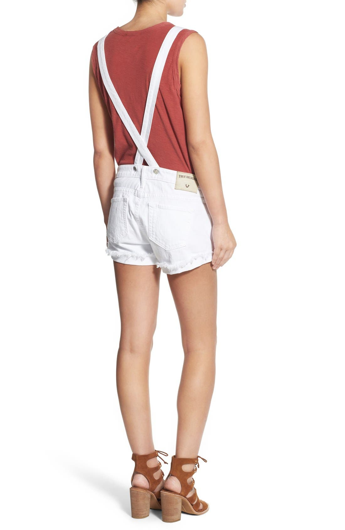 Alternate Image 3  - True Religion Brand Jeans Denim Short Overalls (Optic White)