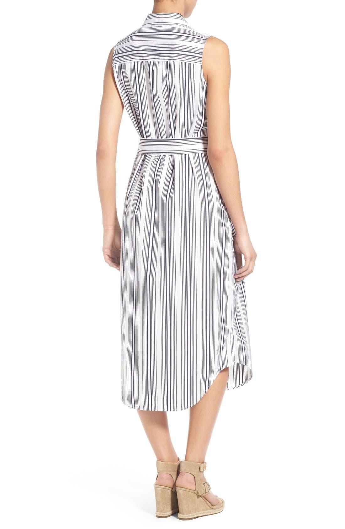 Alternate Image 2  - Foxcroft Stripe Non-Iron Cotton Sleeveless Maxi Shirtdress (Regular & Petite)