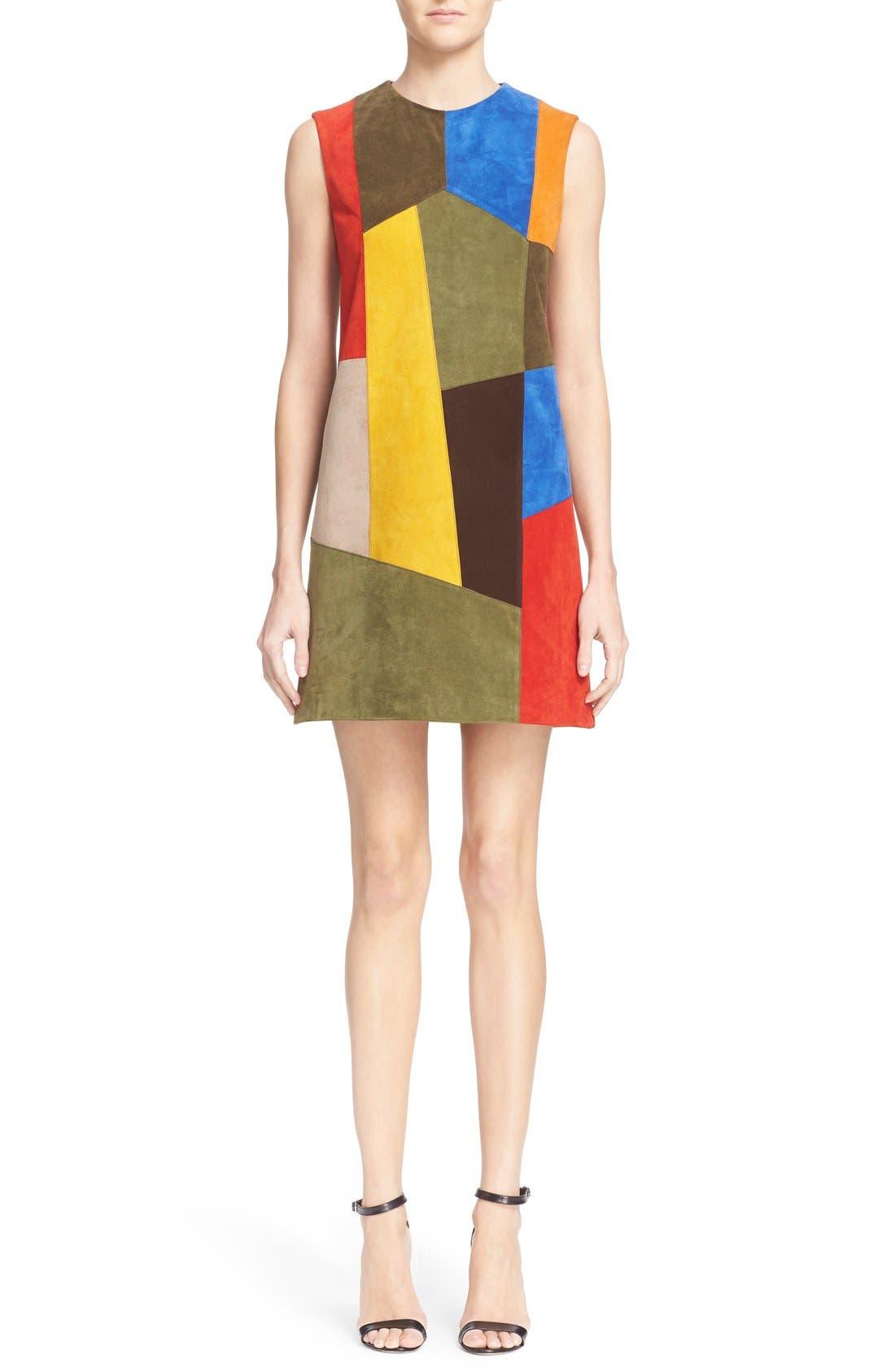 Alternate Image 1  - Victoria Beckham Patchwork Suede Shift Dress