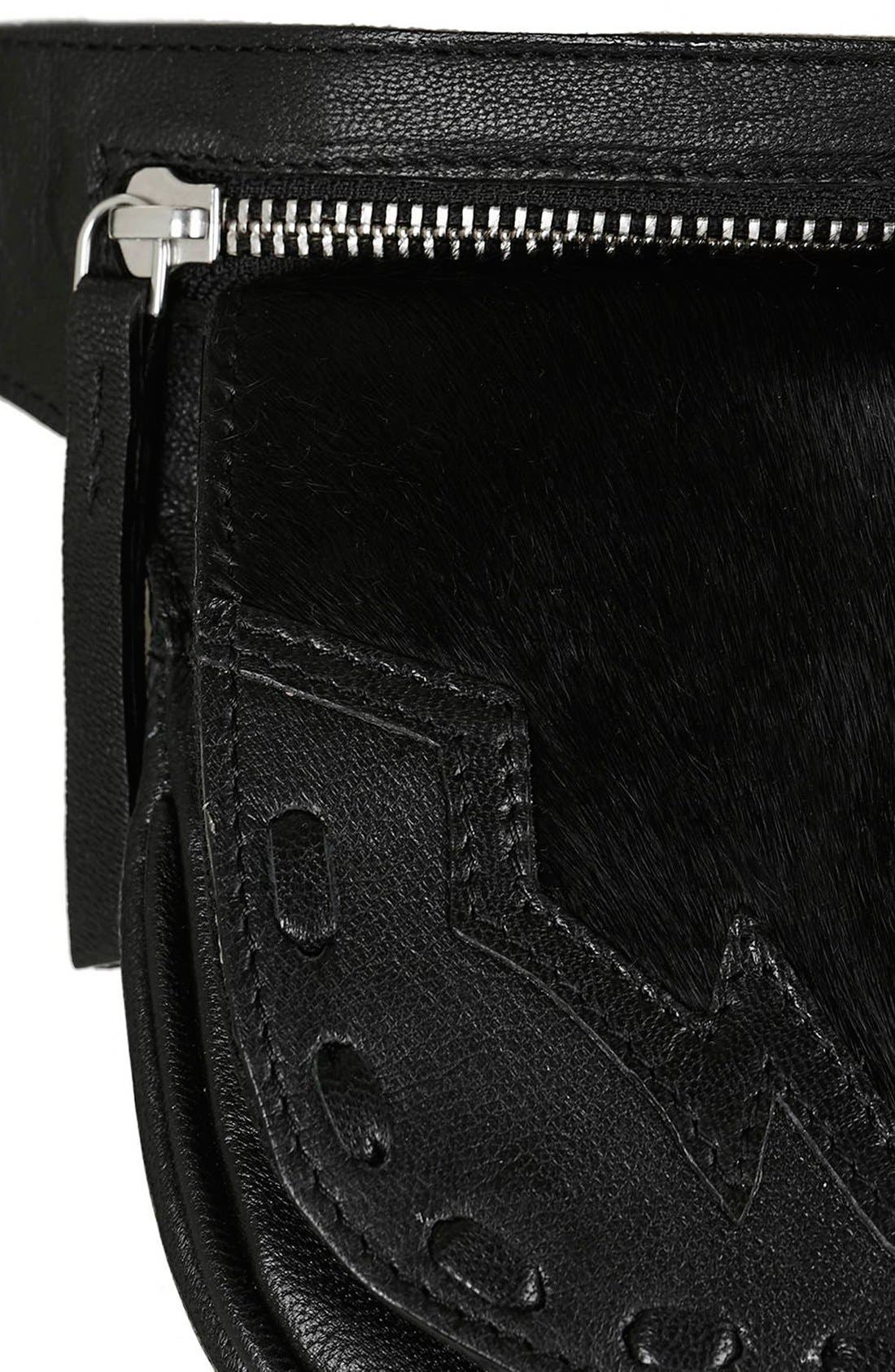 Alternate Image 5  - Topshop Western Leather & Calf Hair Belt Bag