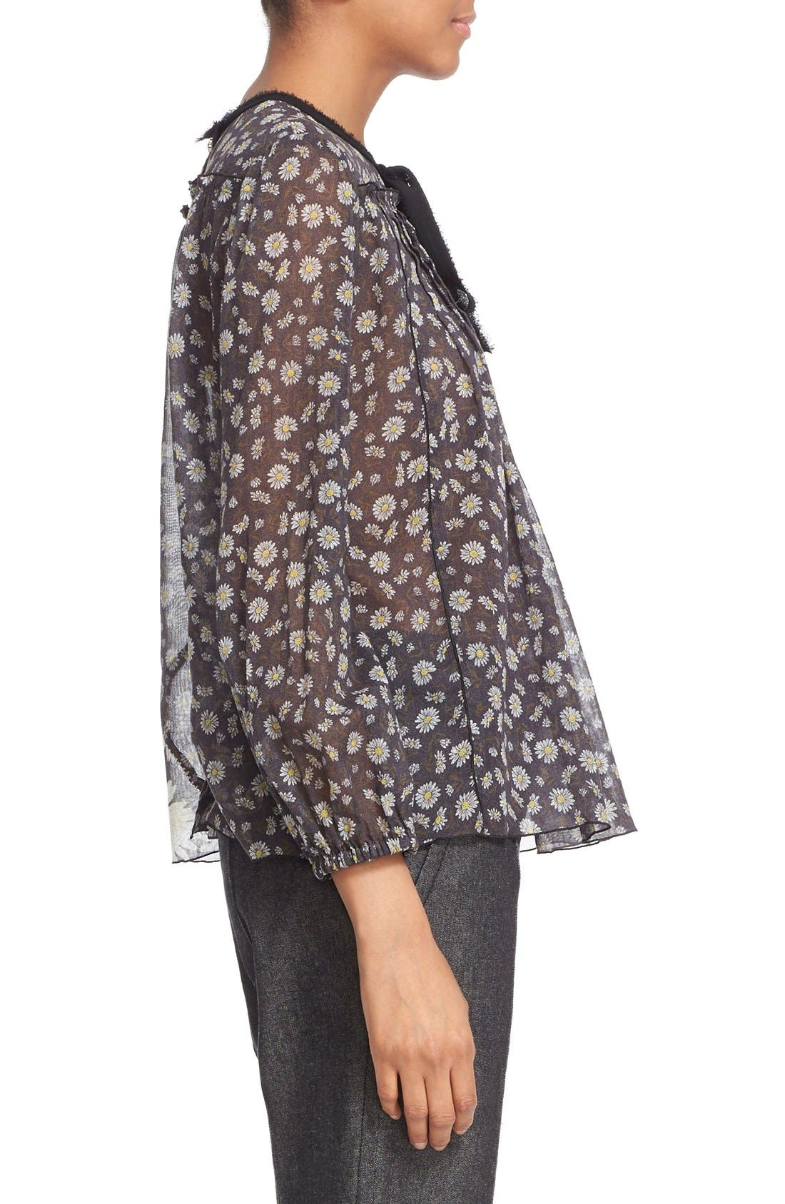 Alternate Image 5  - MARC JACOBS Daisy Print Sheer Tie Neck Peasant Blouse