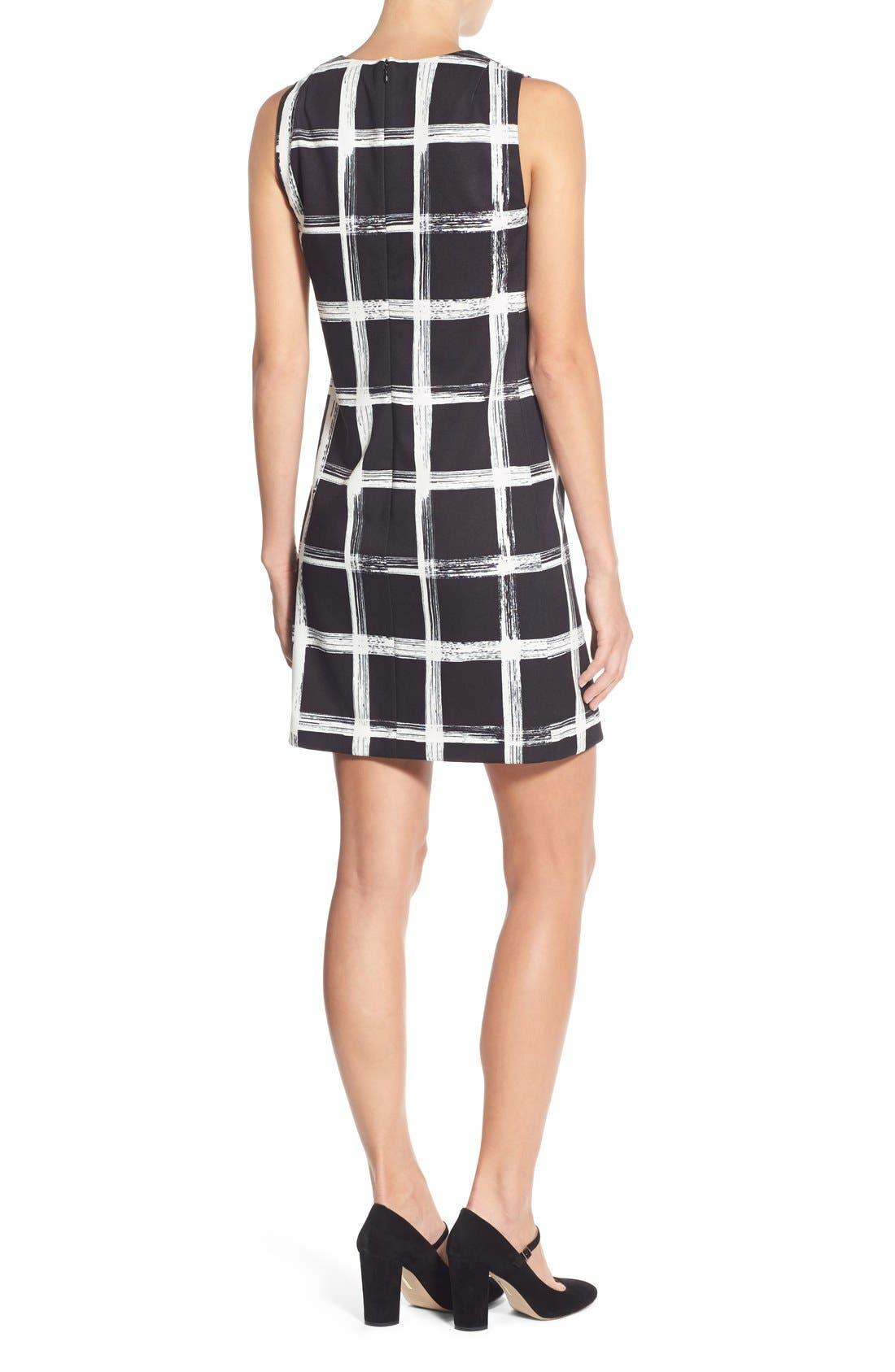 Alternate Image 2  - Eliza J Windowpane Print Ponte Shift Dress (Regular & Petite)