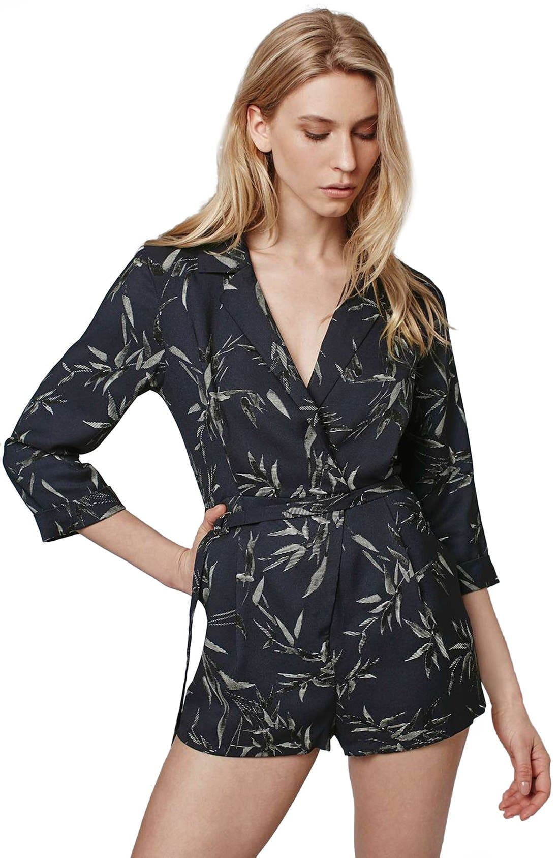 Alternate Image 3  - Topshop 'Alexa' Three-Quarter Sleeve Leaf Romper
