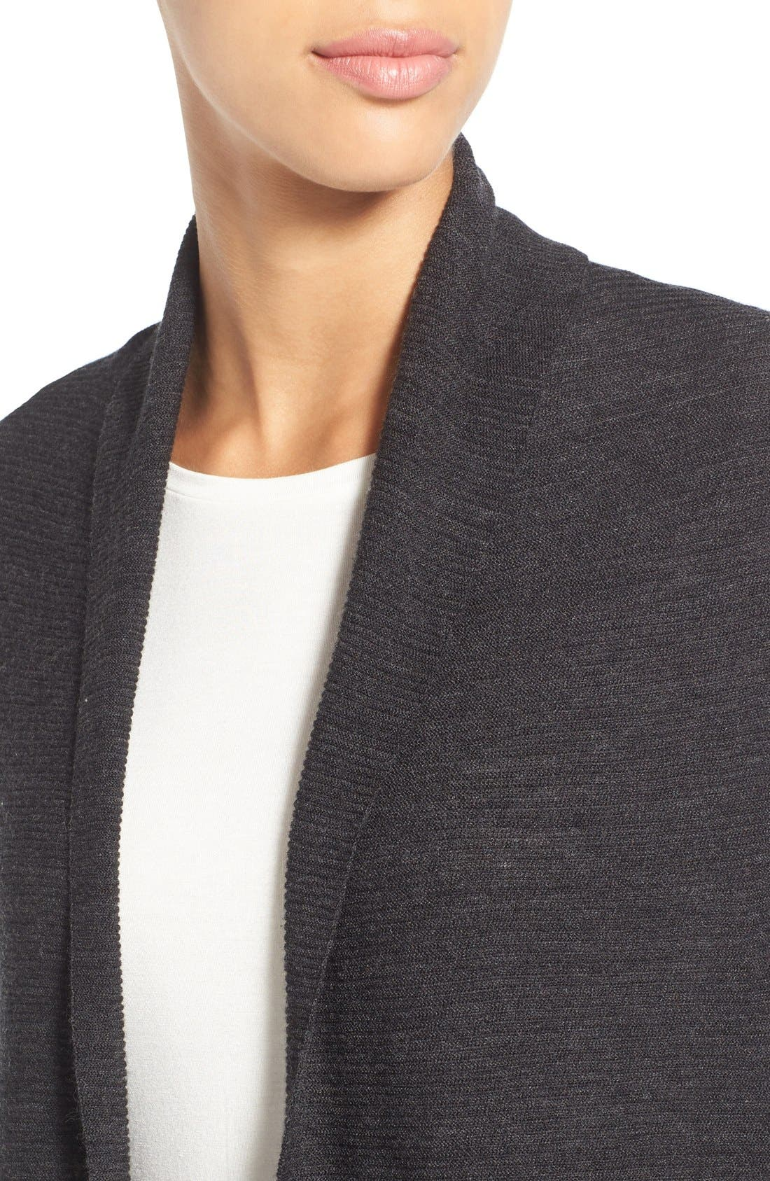 Alternate Image 4  - Eileen Fisher Ribbed Merino Wool Open Front Long Cardigan