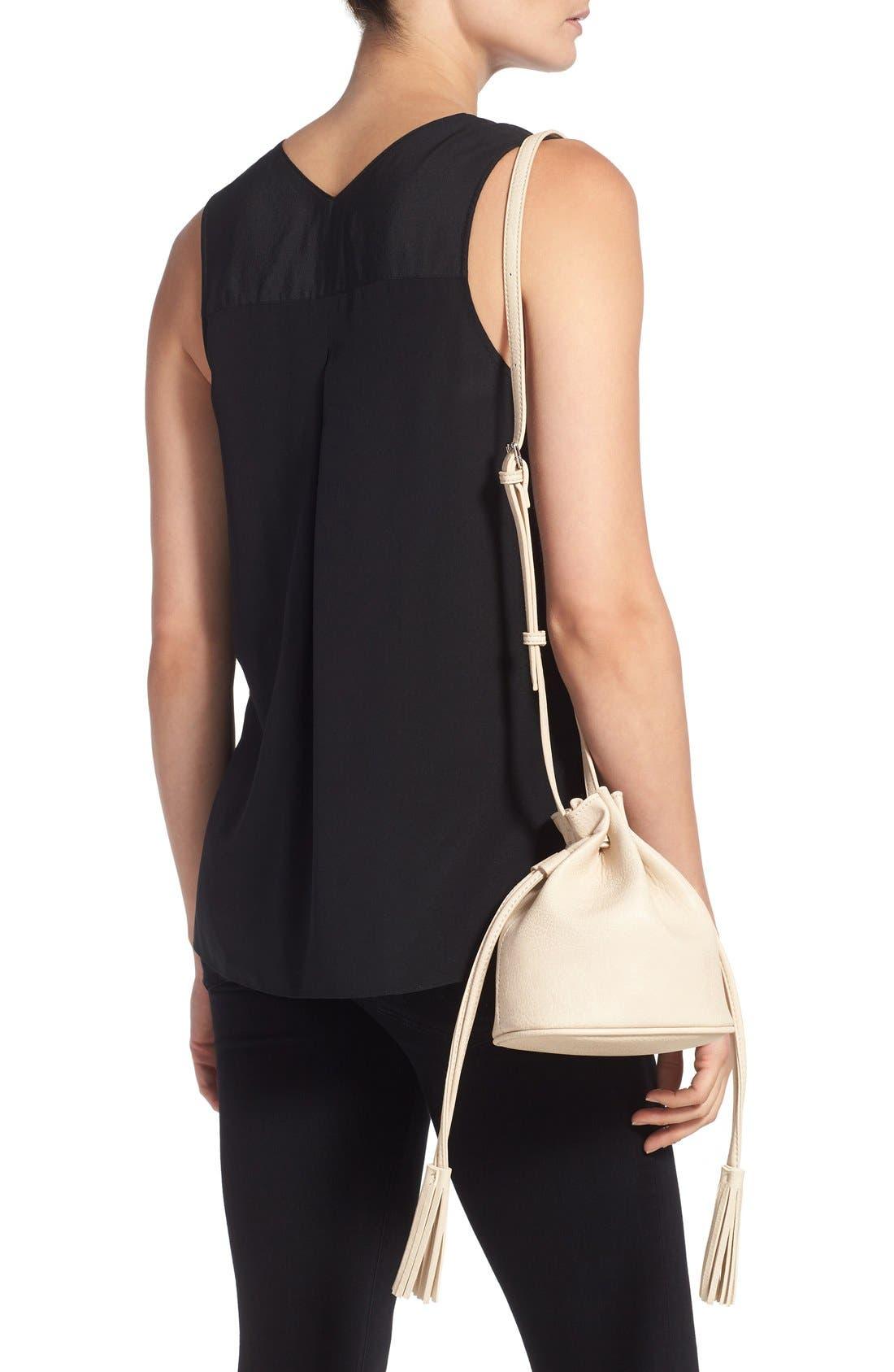 Alternate Image 2  - Street Level Mini Faux Leather Tassel Bucket Bag
