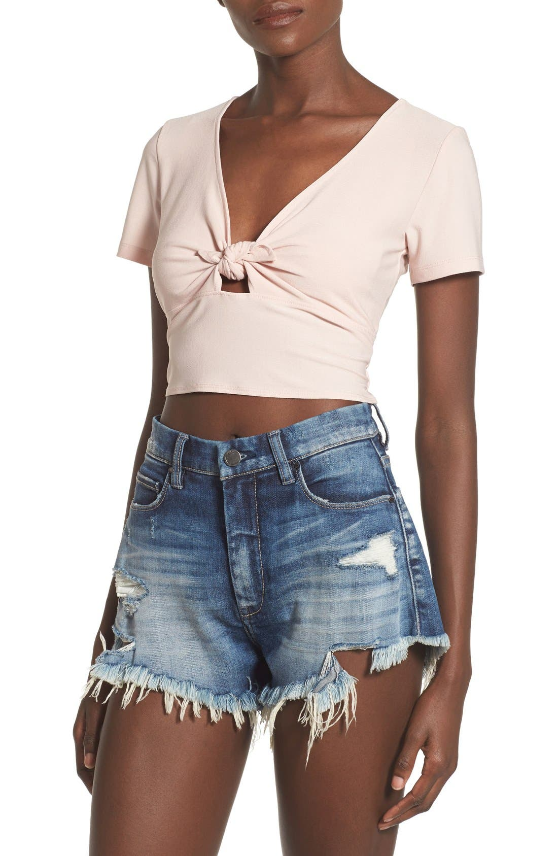 Alternate Image 1 Selected - Leith Tie Front Crop Top