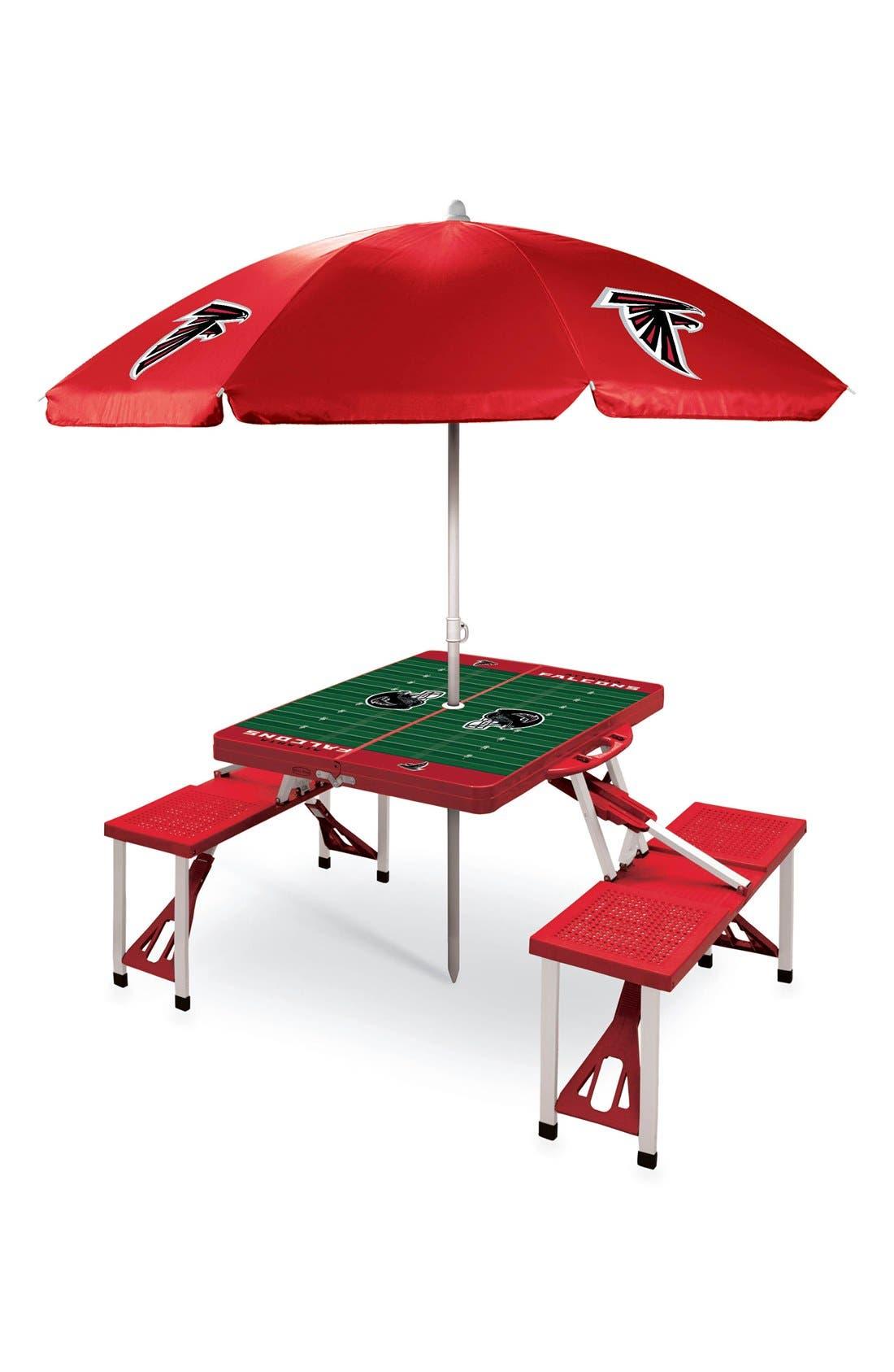 Picnic Time Team Football Field Design Portable Picnic Table with Umbrella