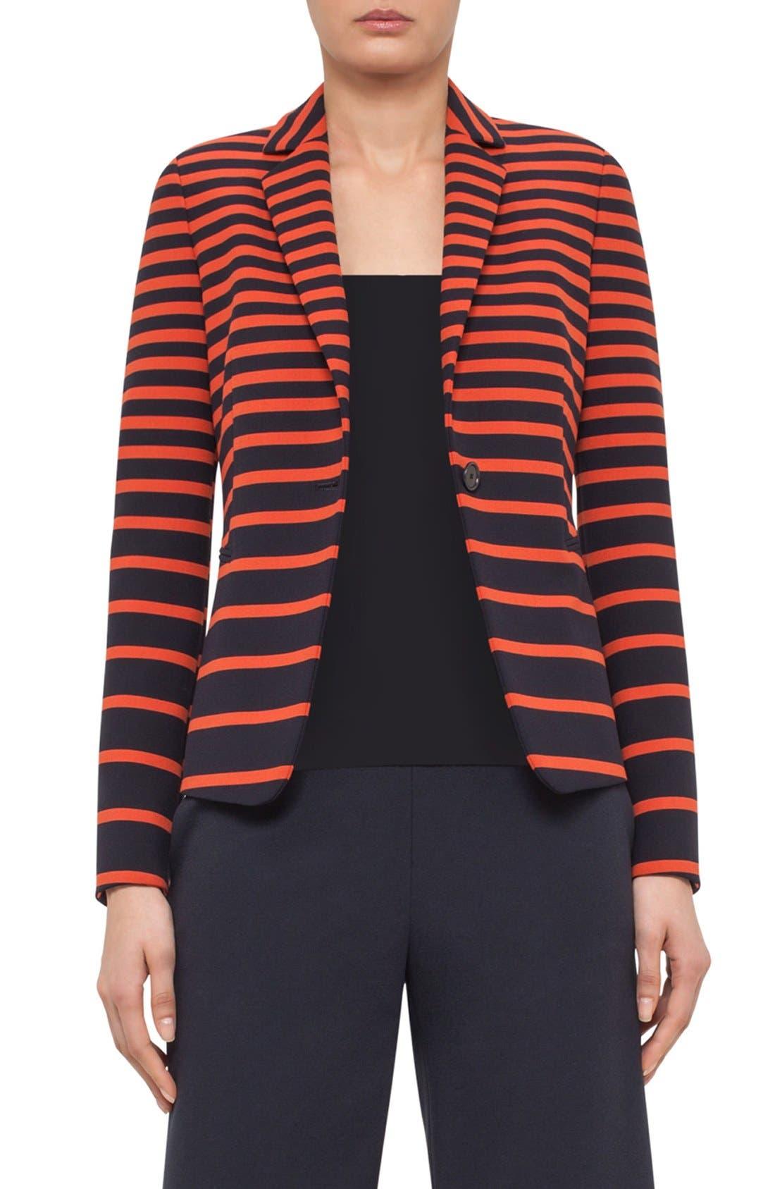 Main Image - Akris punto Leather Trim Stripe Blazer